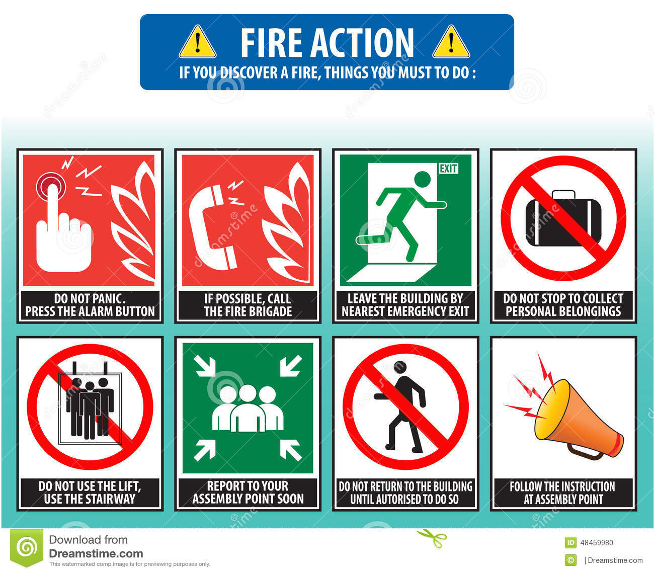 Stock illustration fire action emergency procedure evacuation