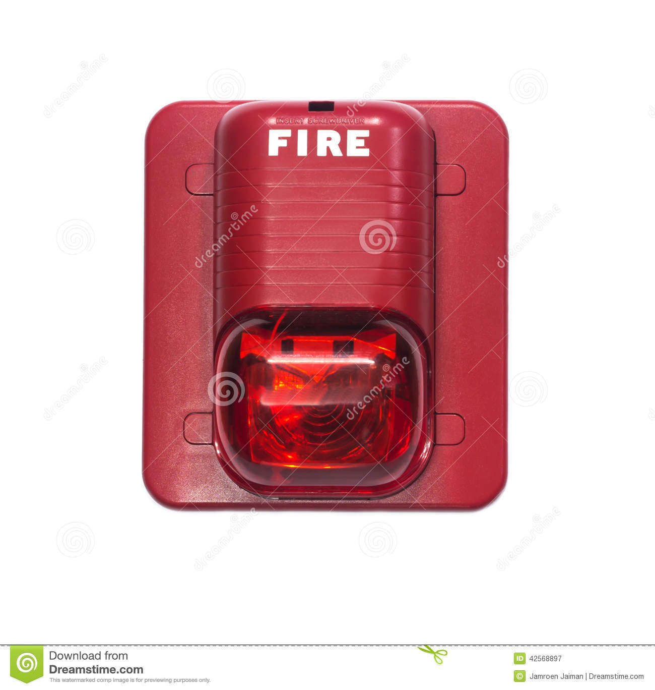fire alarm with built in strobe light to alert in case of fire stock. Black Bedroom Furniture Sets. Home Design Ideas