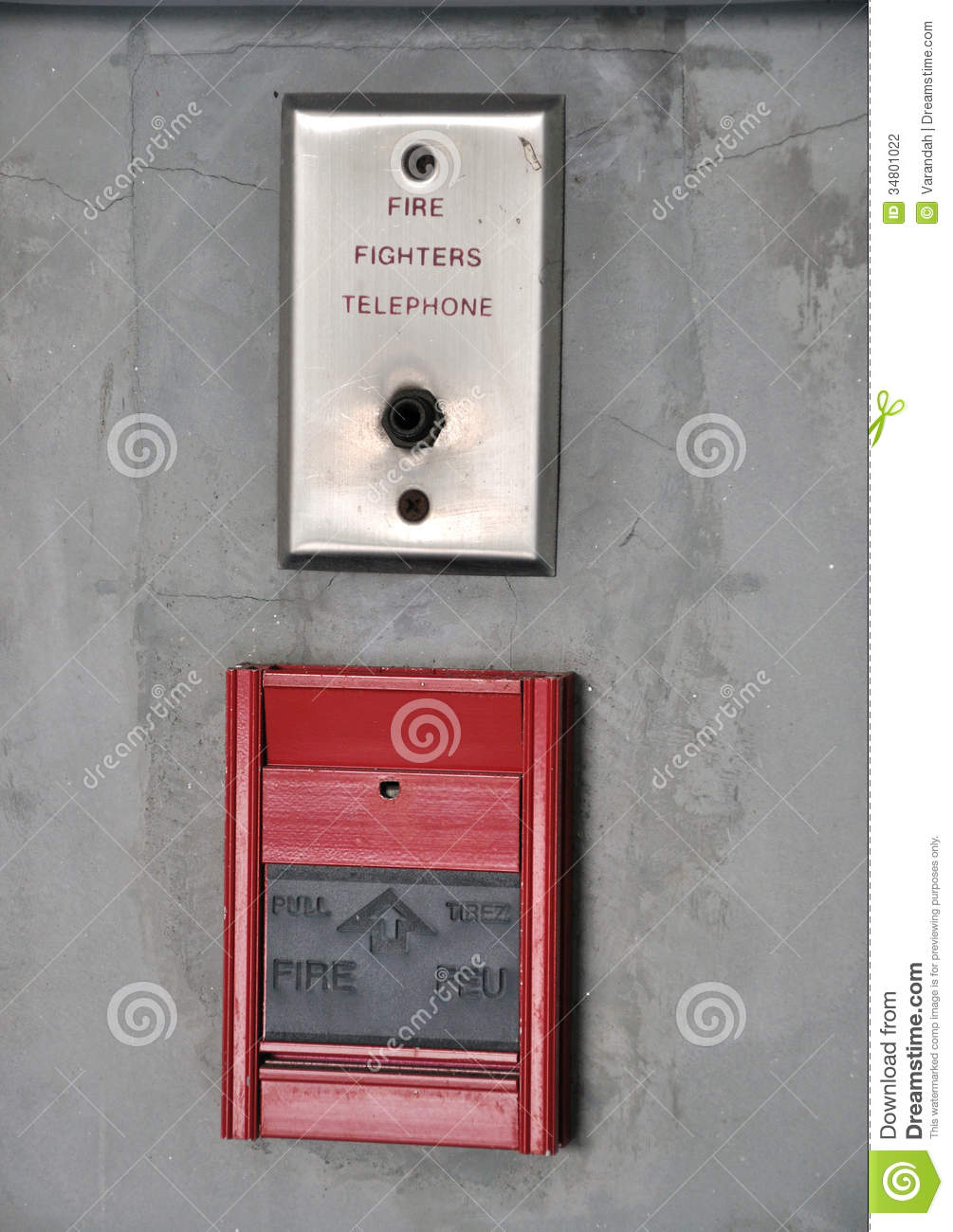 Fire Alarm And Fire Fighter Telephone On The Wall Stock