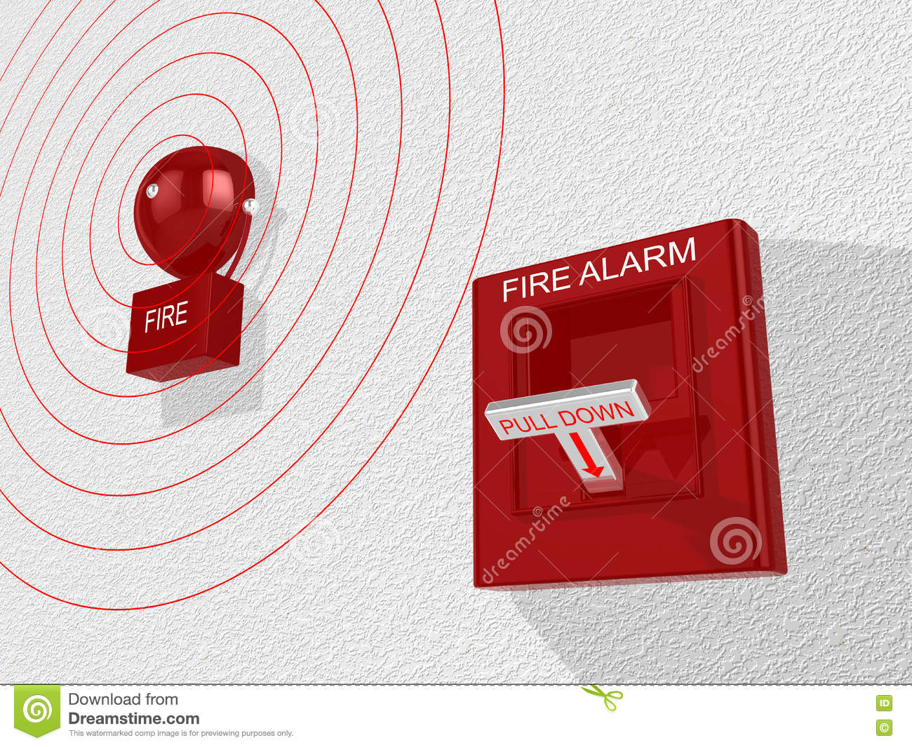 Fire Alarm Switch Activated Sounding An Alarm Stock