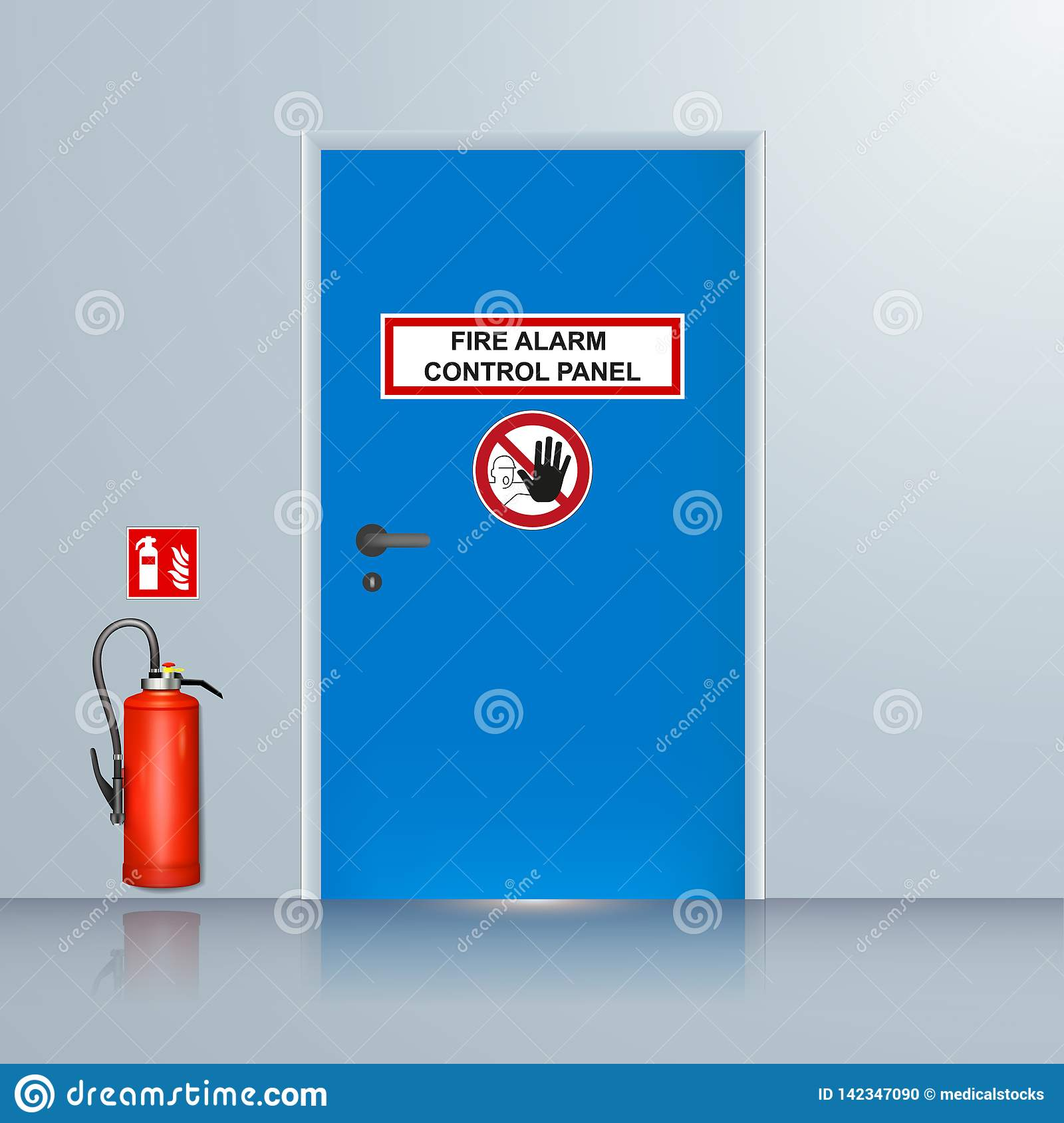 Fire alarm system room vector illustration