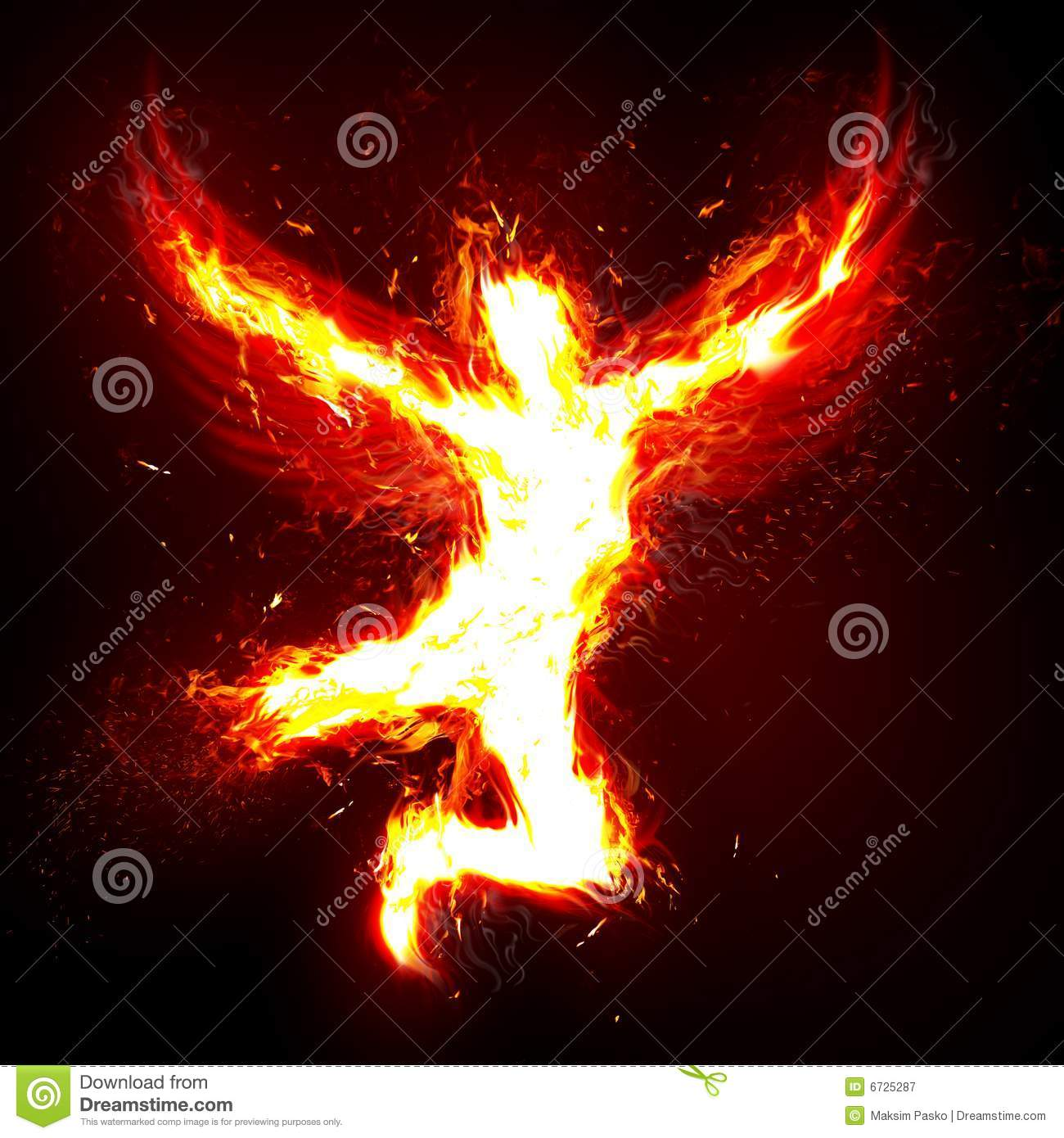 ... background with a fantasy theme showing a man with wings made of fire