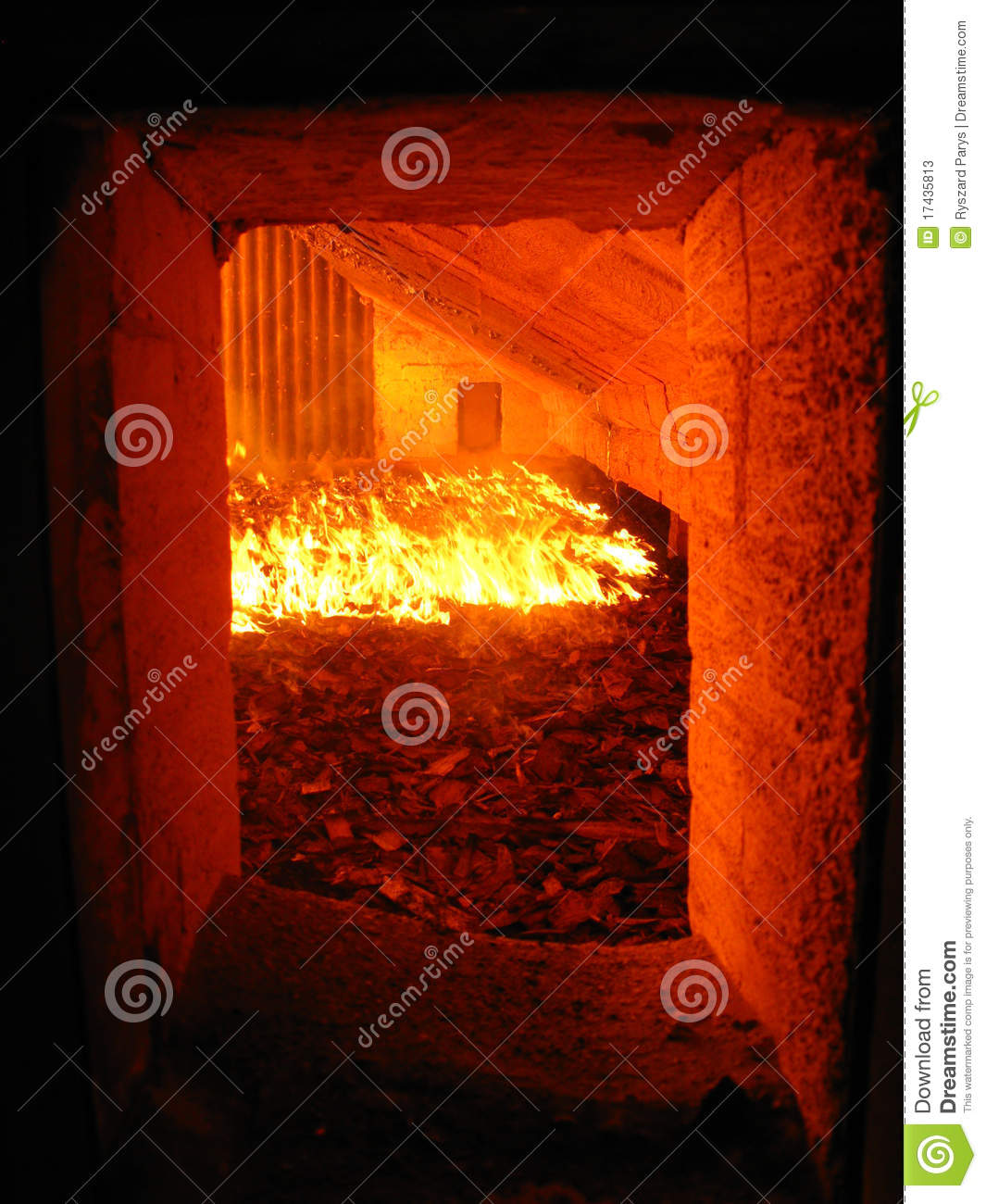 Fire Water Boiler ~ Fire in the boiler grate stock image of energy