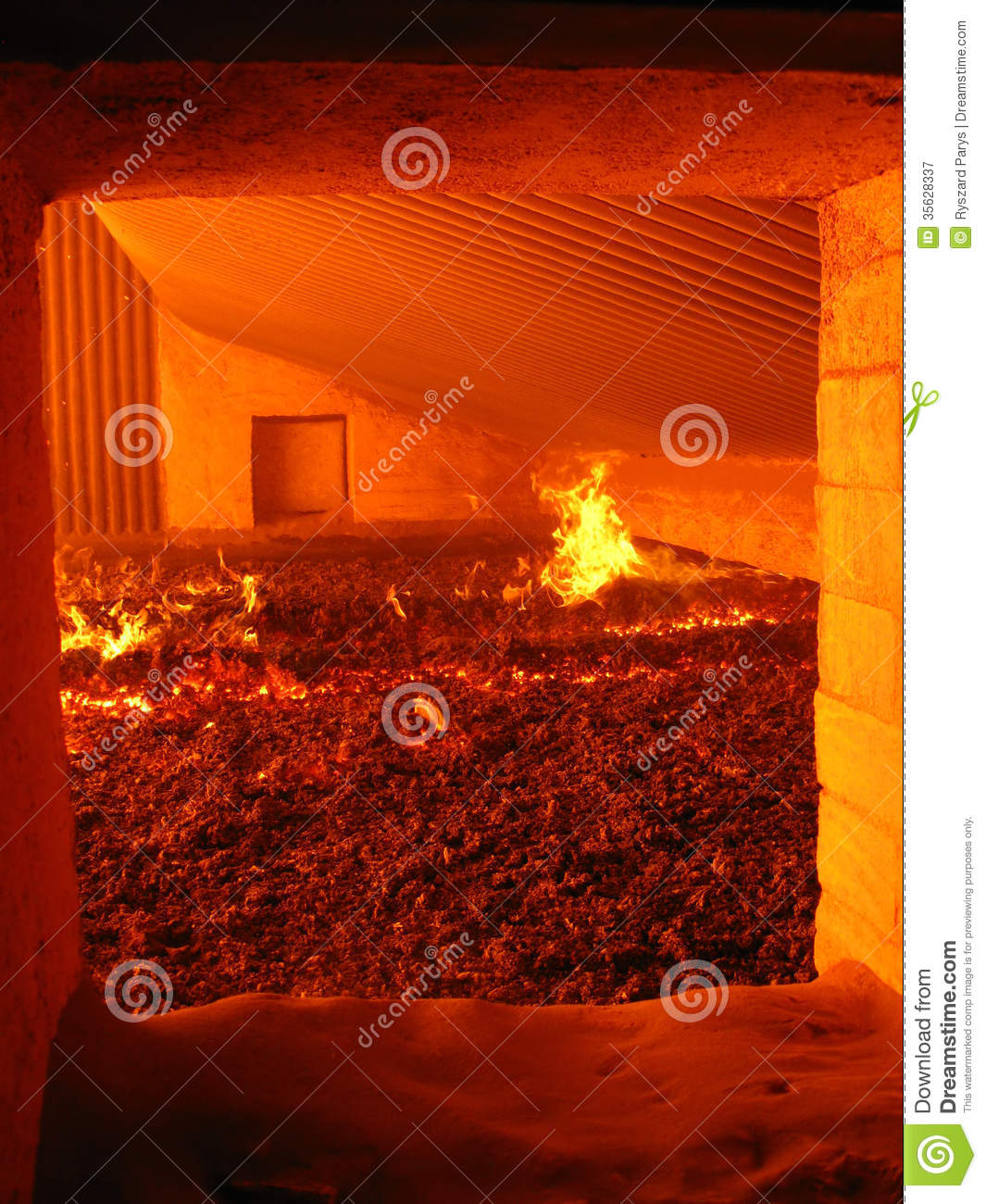 Fire In The Boiler Grate Stock Image Image Of Energy