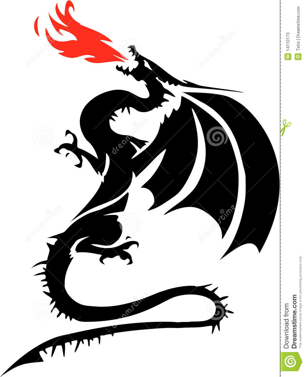 Black and white drawing of a winged dragon breathing red flames. Angry Black Woman Face
