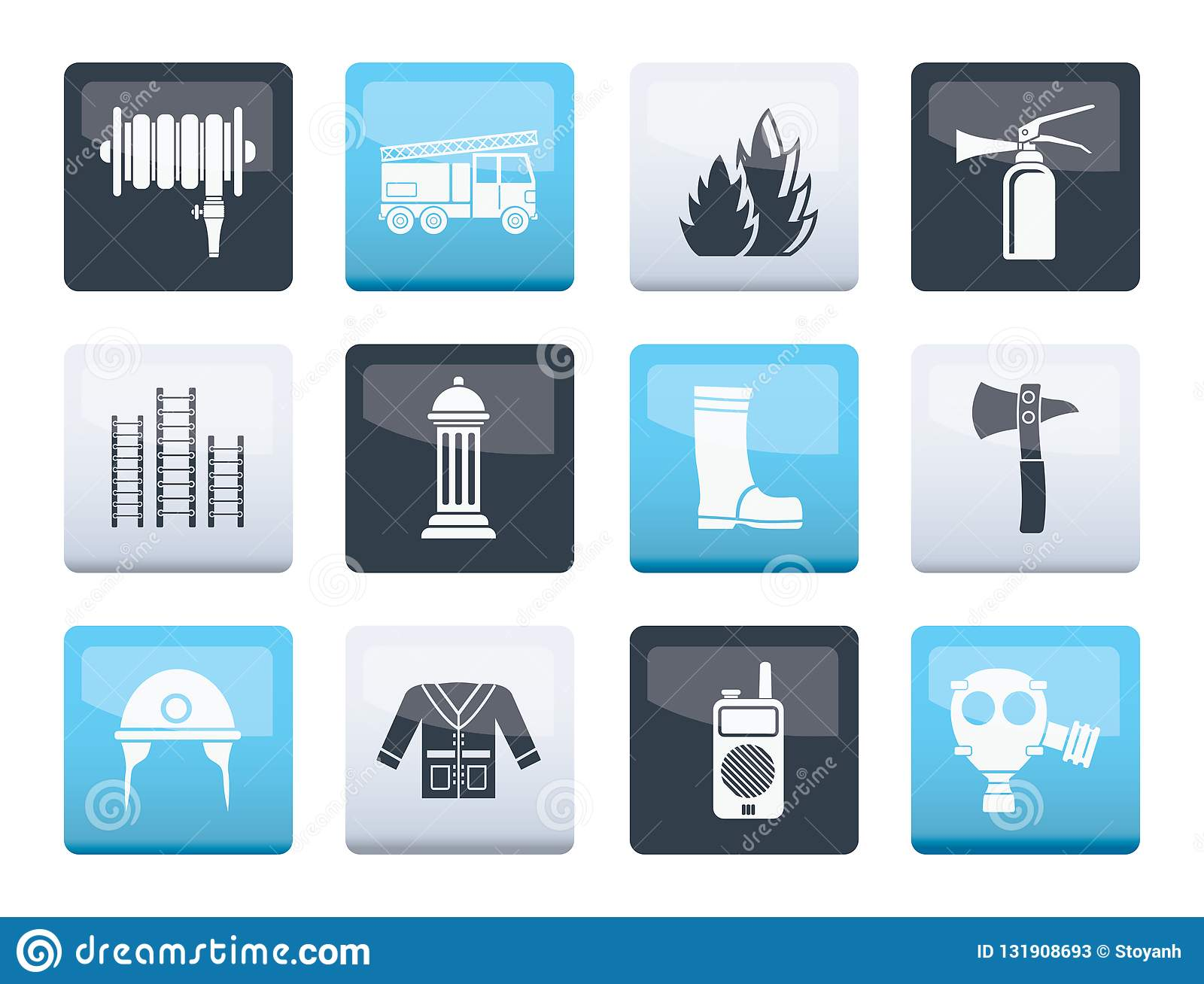 Fire-brigade and fireman equipment icons over color background