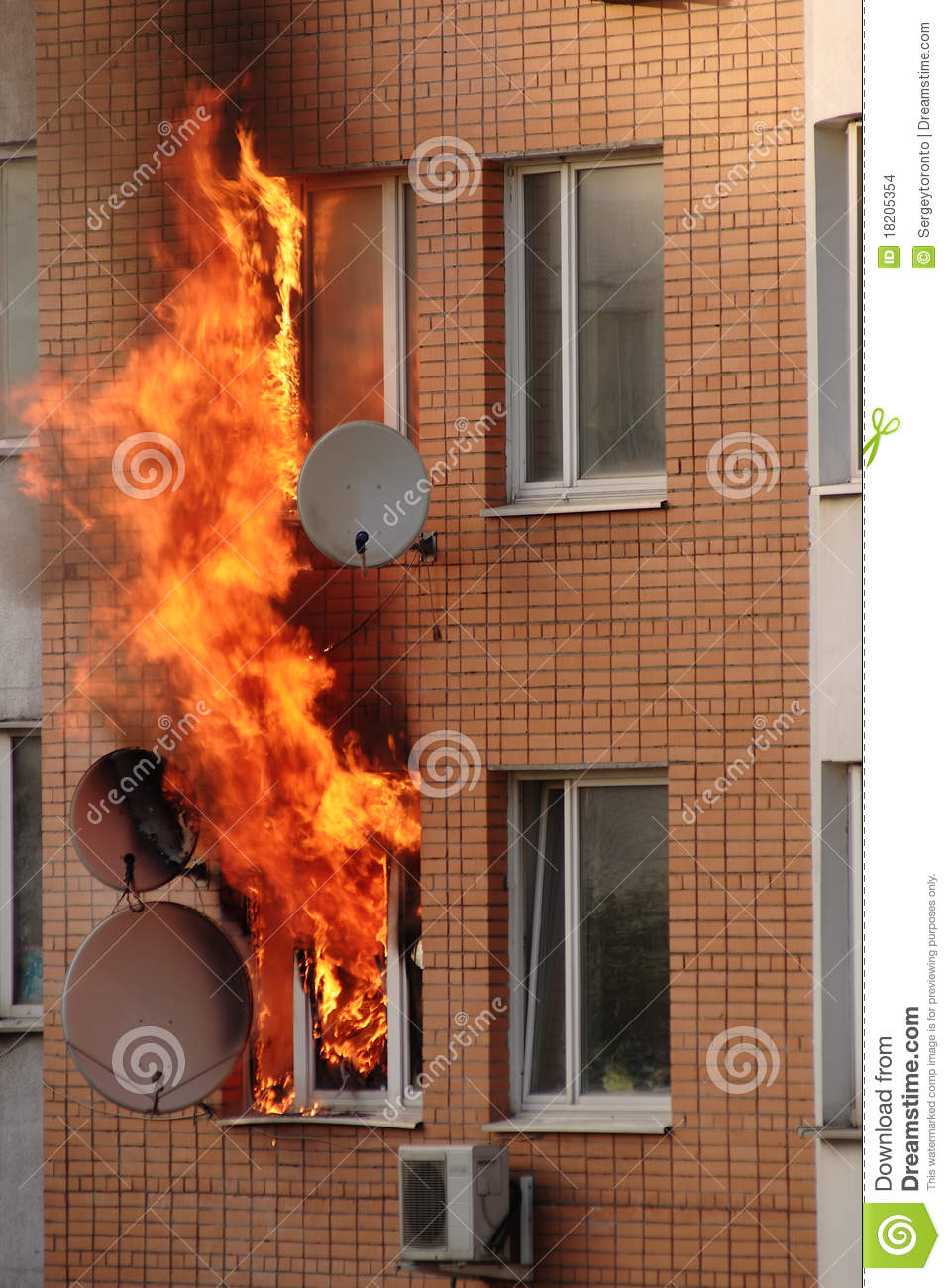 Fire In Building Stock Photo Image Of Fiery Accident