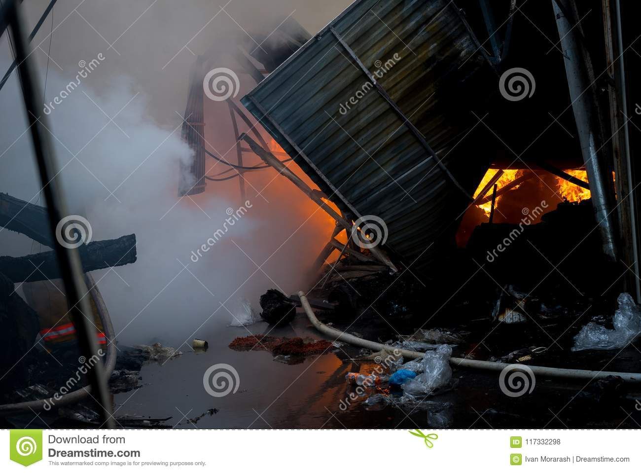 Fire Of Building Local Market Is On Fire Editorial Stock Photo