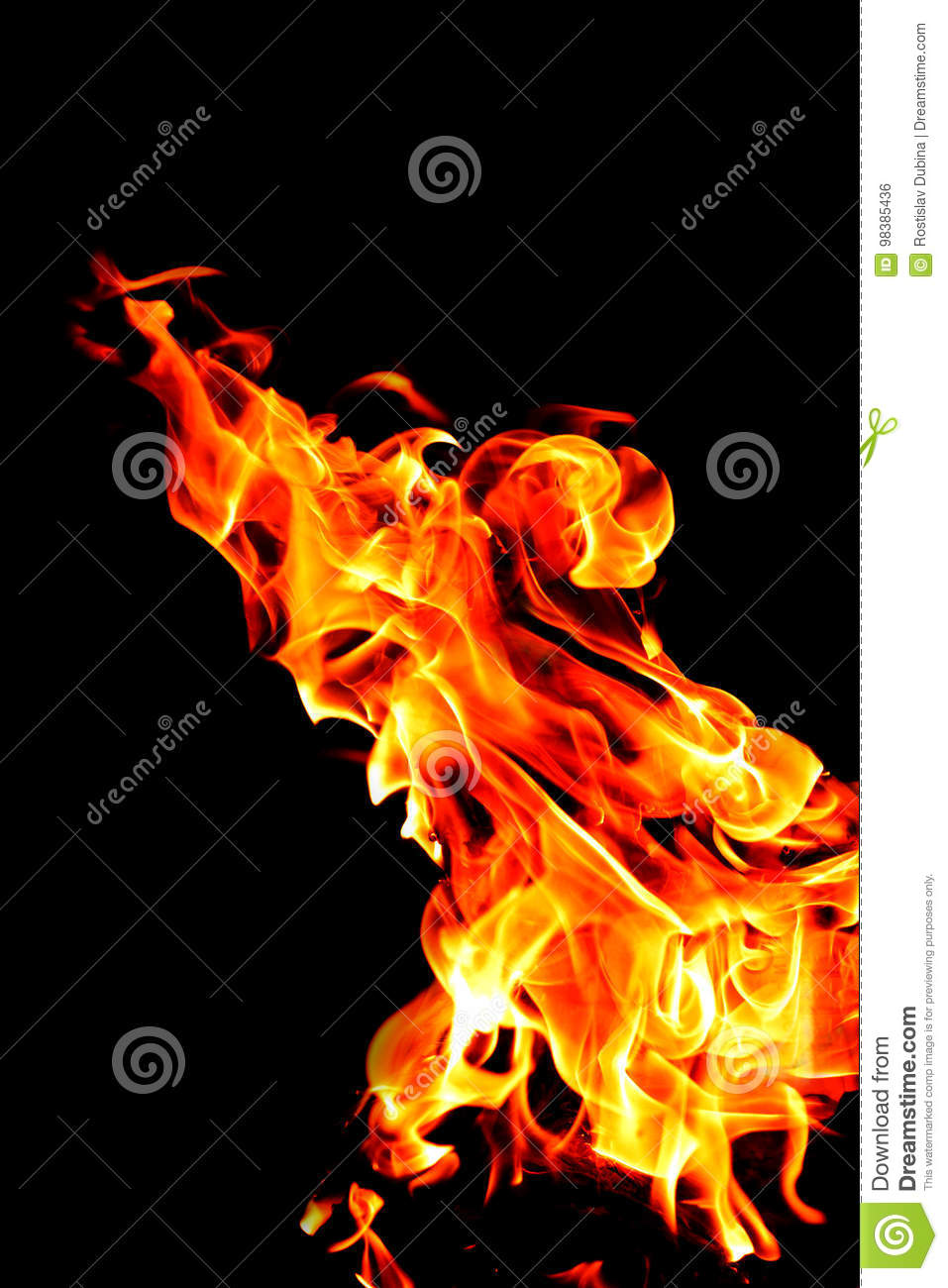 Yellow Fire With Flame Tongues Isolated On Black Stock