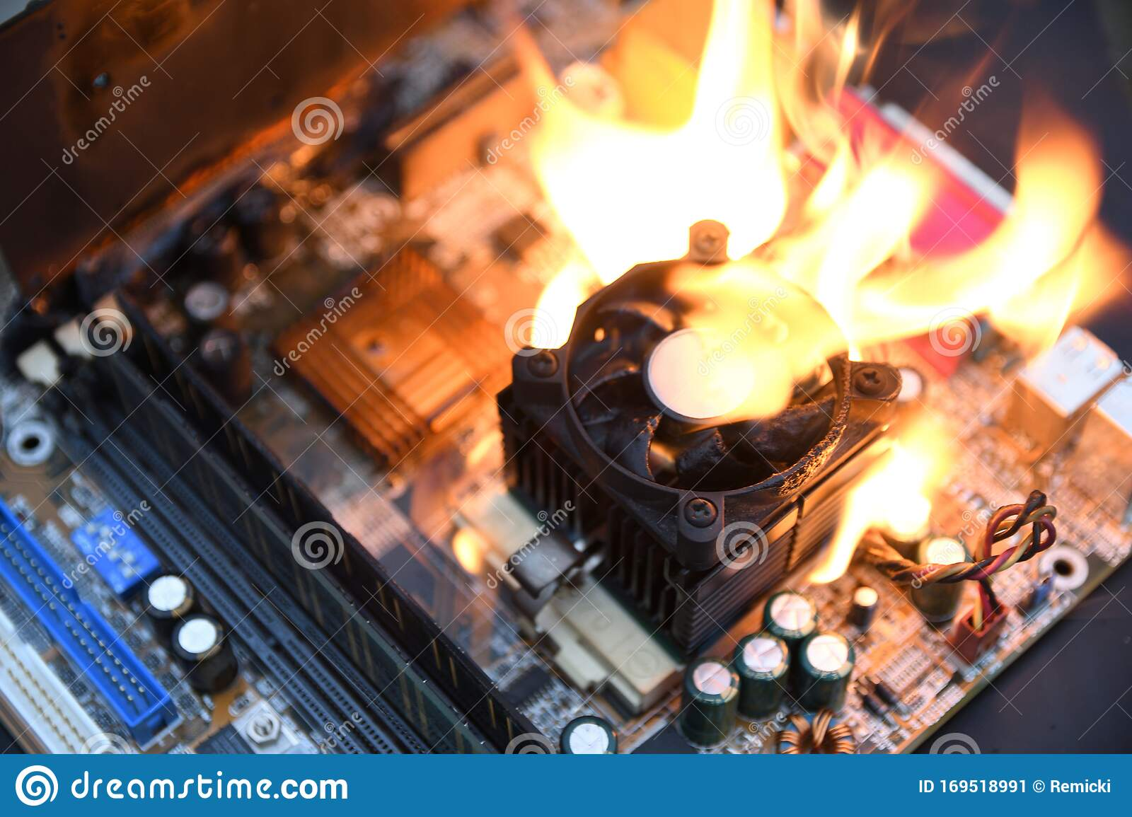 Fire Burning Blazing Computer Motherboard Cpu Gpu And Video Card Processor On Circuit Board With Electronic Stock Image Image Of Broken Engineering 169518991