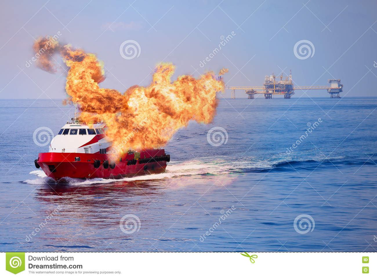 Fire Burning On The Boat In Offshore Oil And Gas Industry