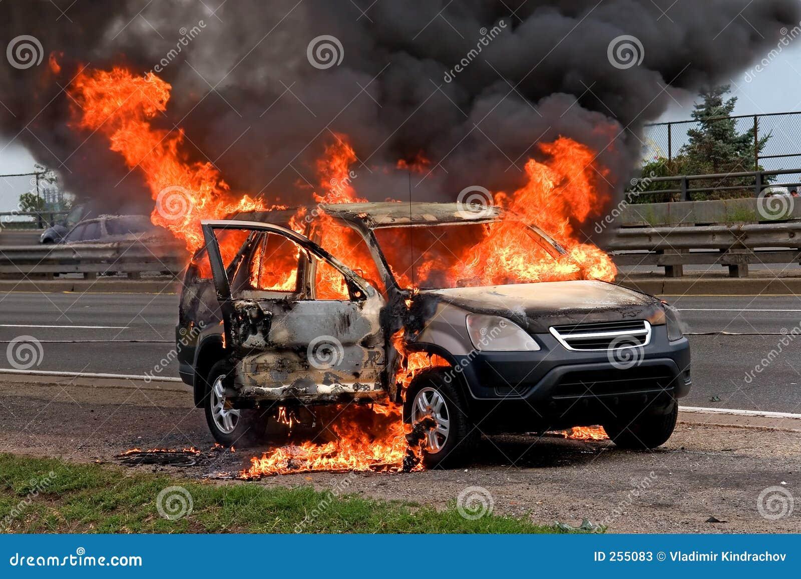 Fire burning car