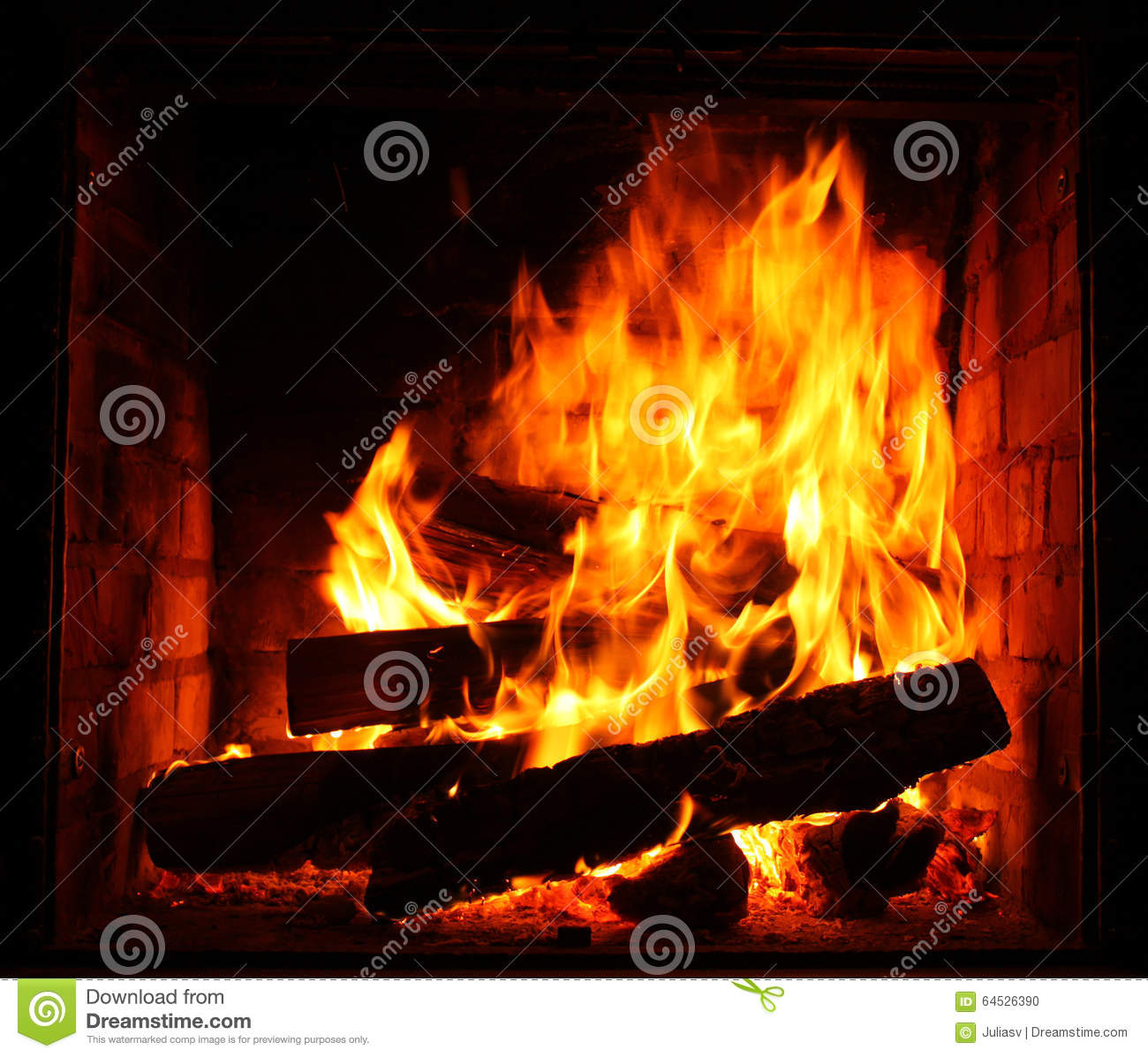 fire in burning fireplace in winter close up stock photo image
