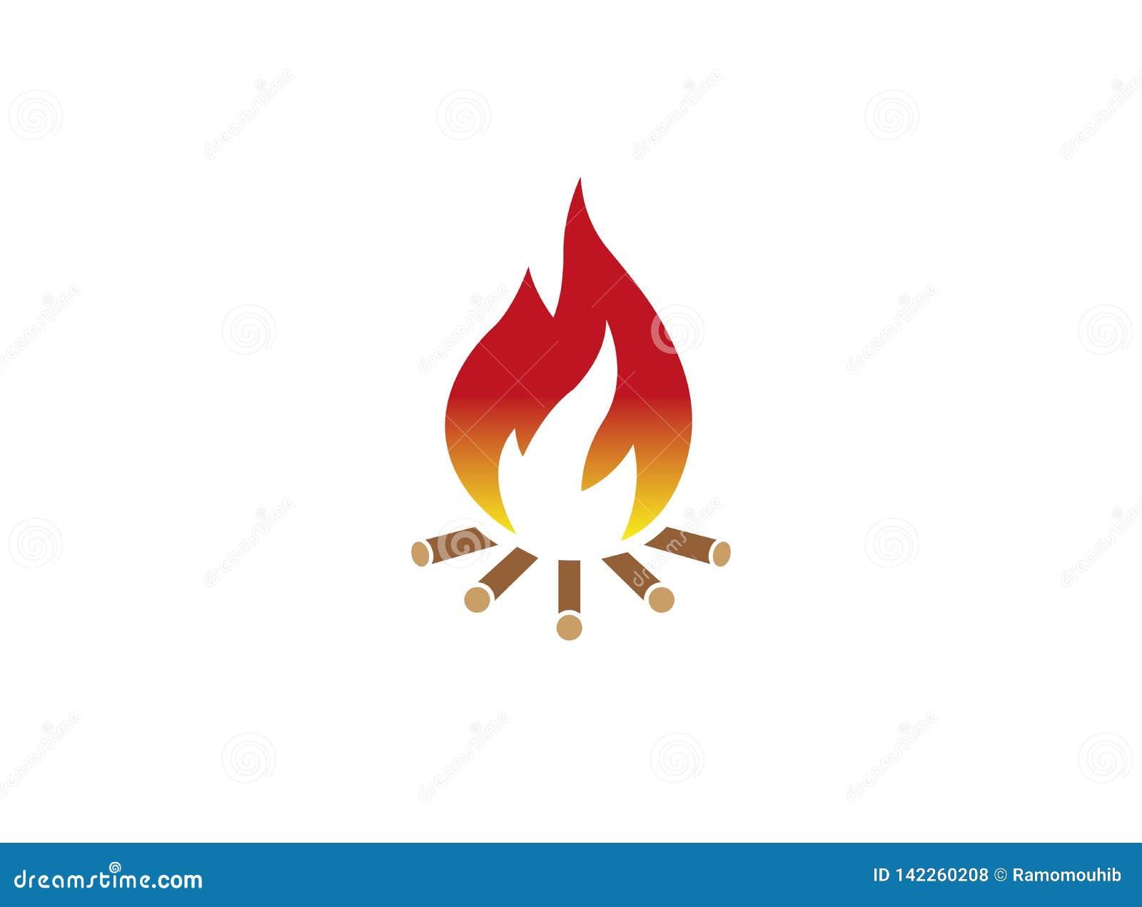 Fire burning wood campfire for logo design