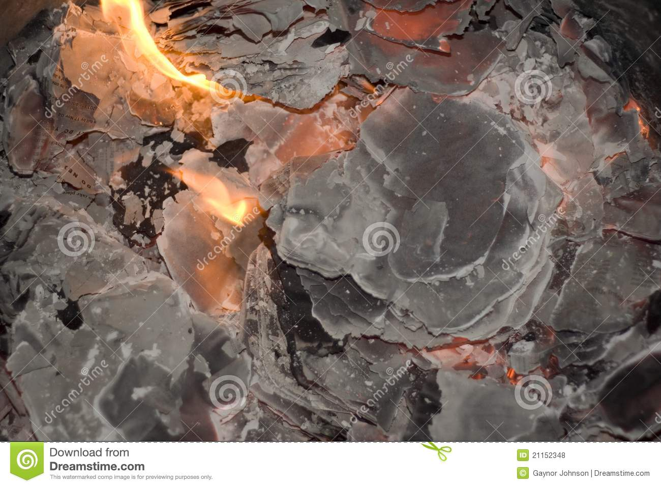 Fire burns paper to ash