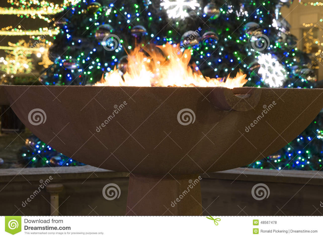 Download Fire And Christmas Lights Stock Photo. Image Of Rochester    48567478
