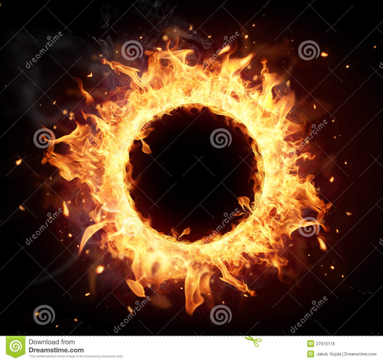 Fire circle with free space for text. isolated on black background.