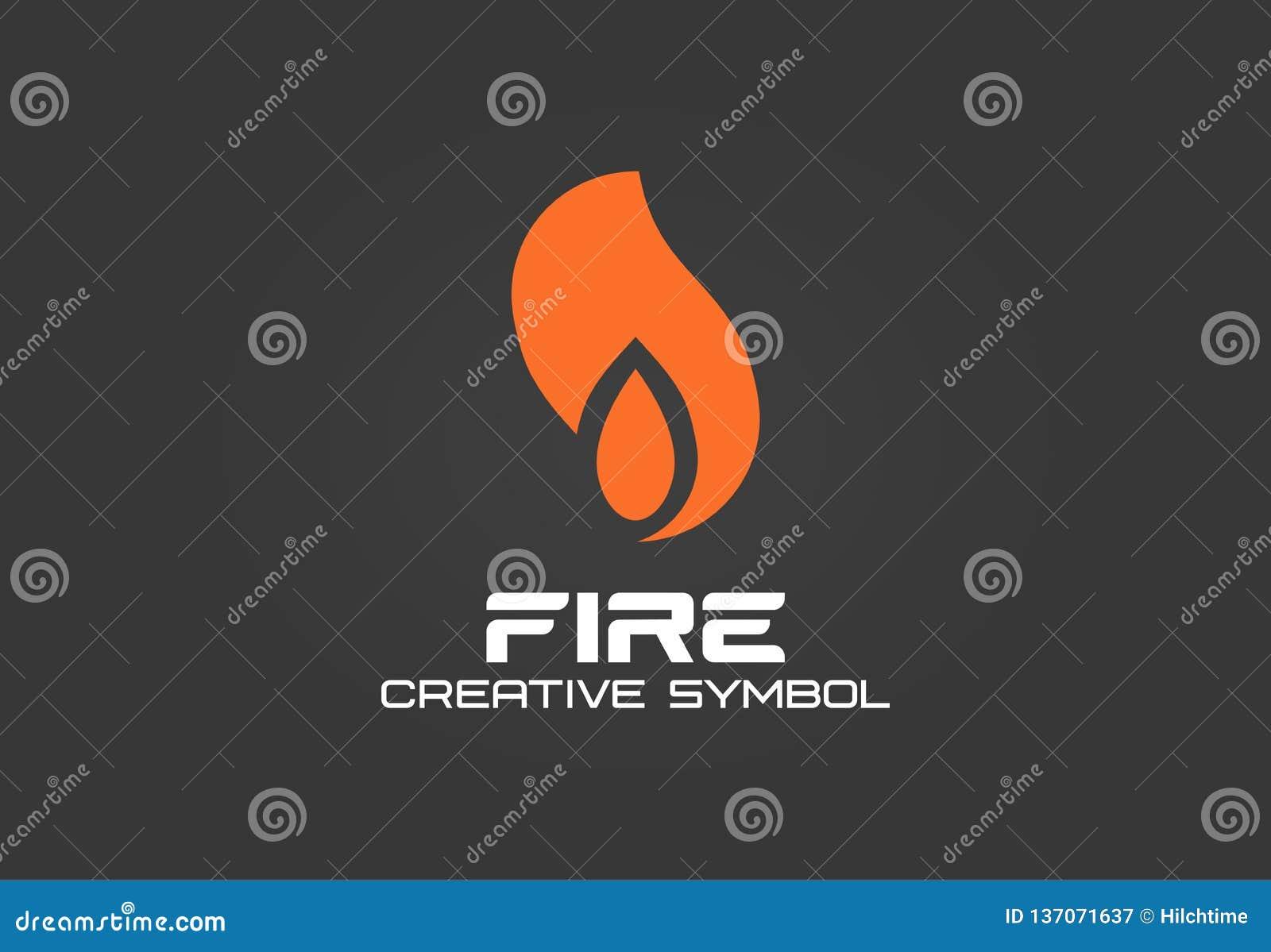 Fire creative symbol concept. Energy flame blaze abstract business logo. Flash gas ignite, smoke hot air shape, black