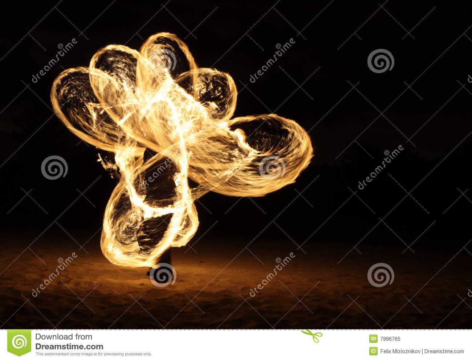 Fire Dancer in the dark
