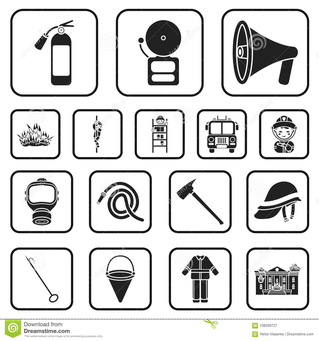 Fire Department black icons in set collection for design. Firefighters and equipment vector symbol stock web
