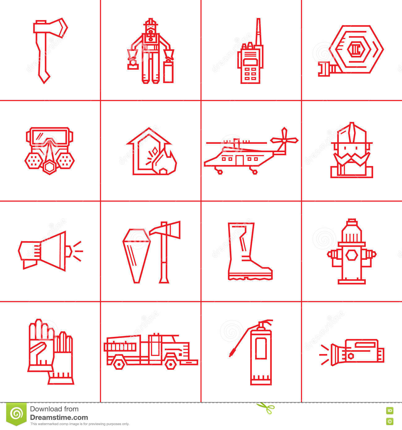 Fire Department Contour Icons Stock Vector Illustration Of Icon