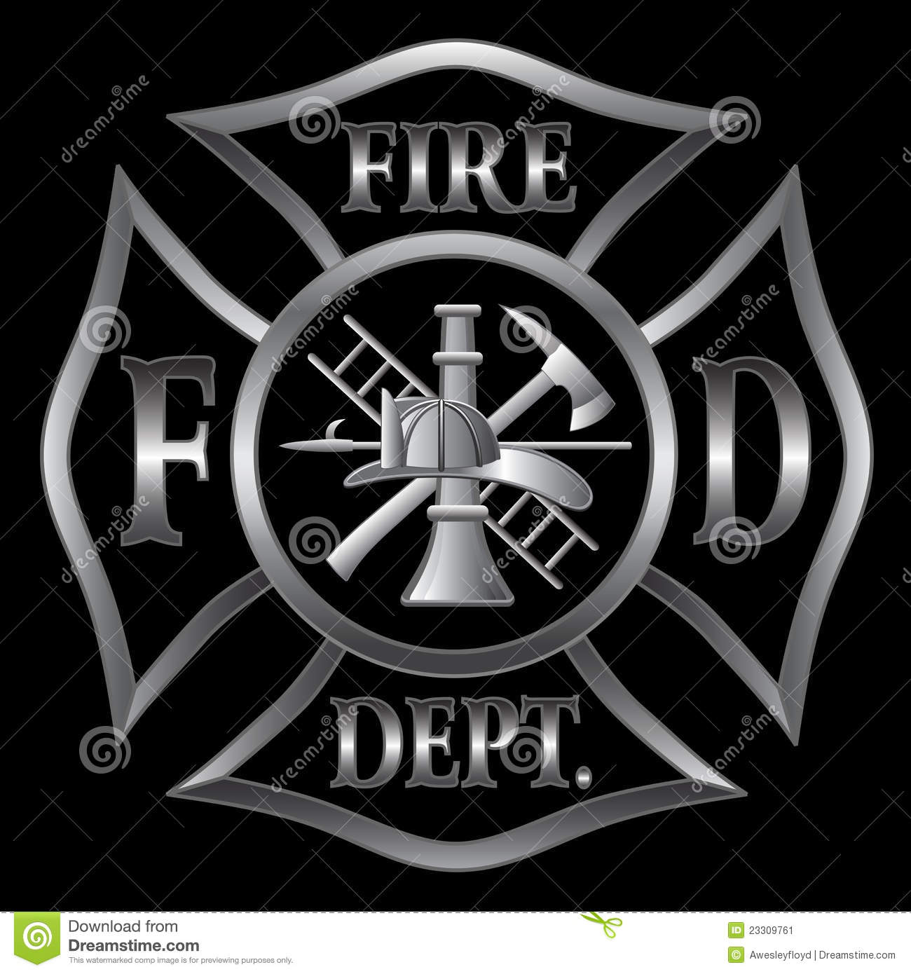 Fire Department or Firefighter's Maltese Cross Symbol in silver on ...