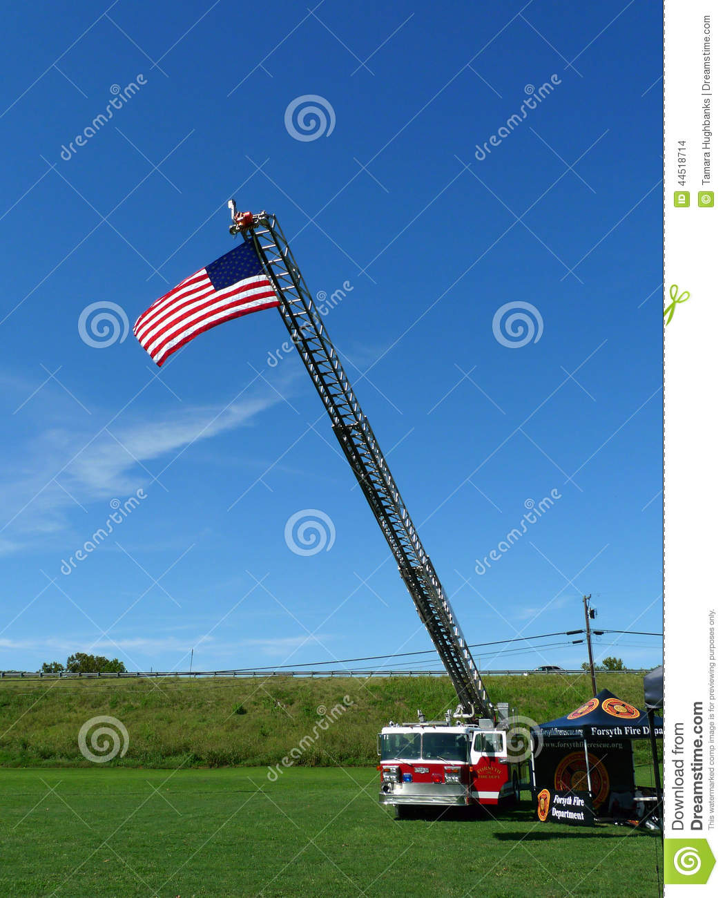 Fire Department Engine with American Flag