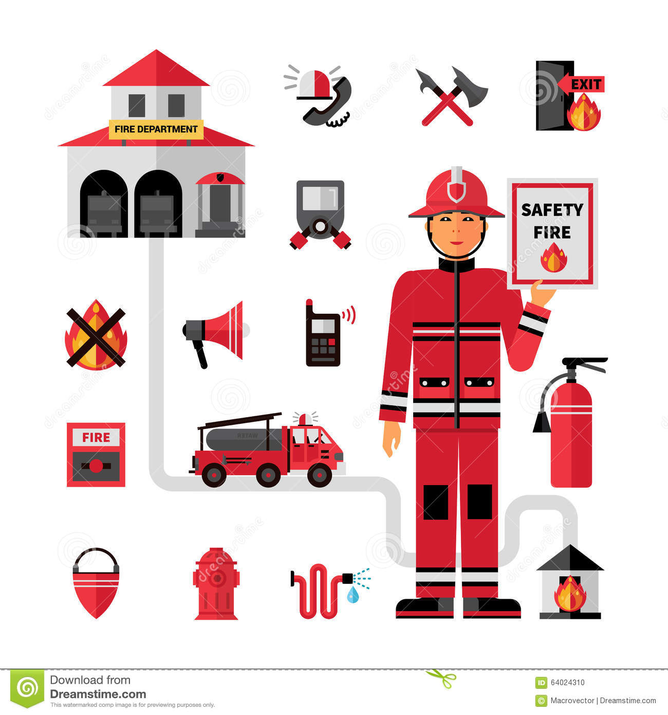 ... and fireman holding safety tips abstract vector illustration