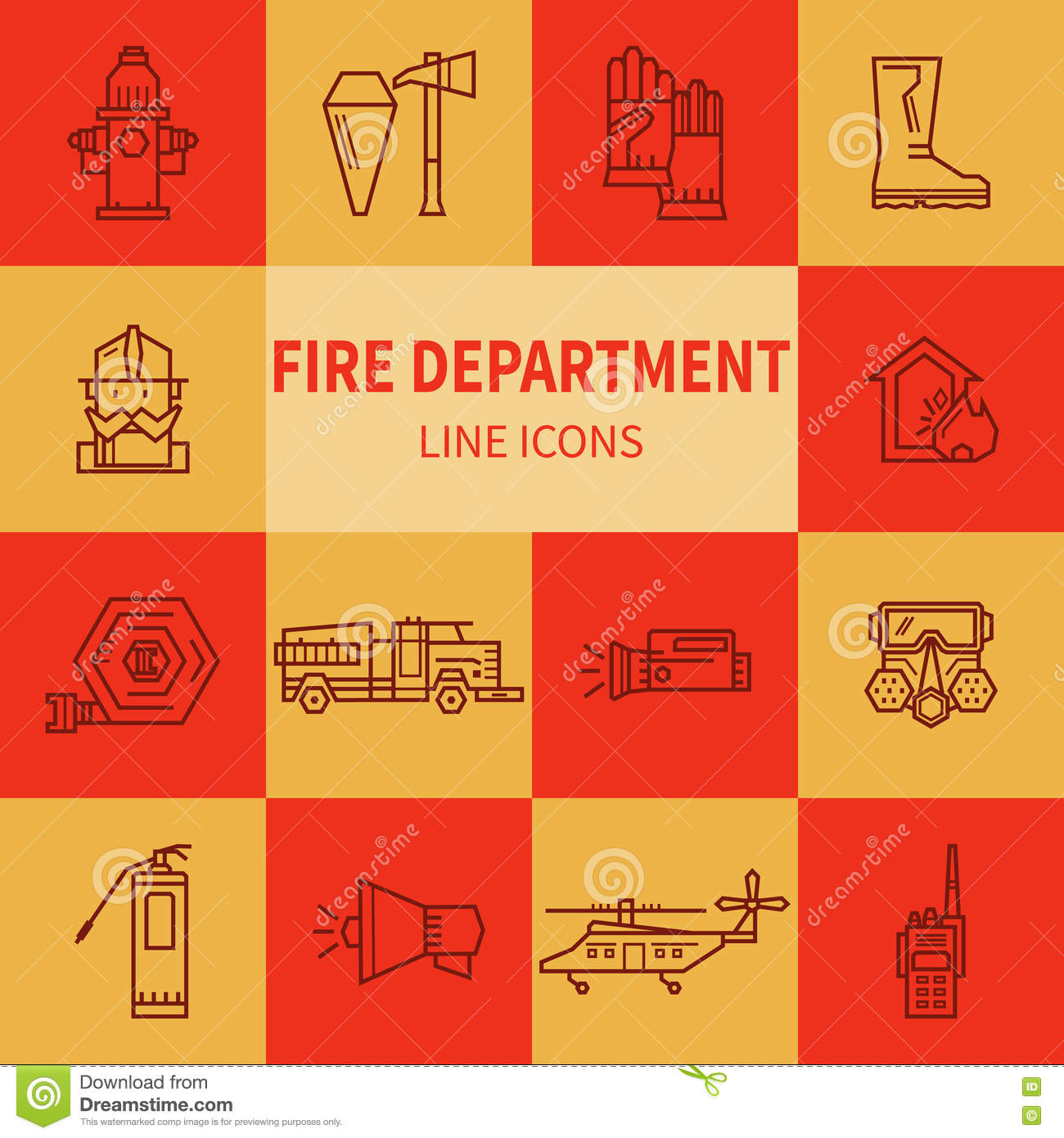 Fire Department Linear Icons Stock Vector Illustration Of