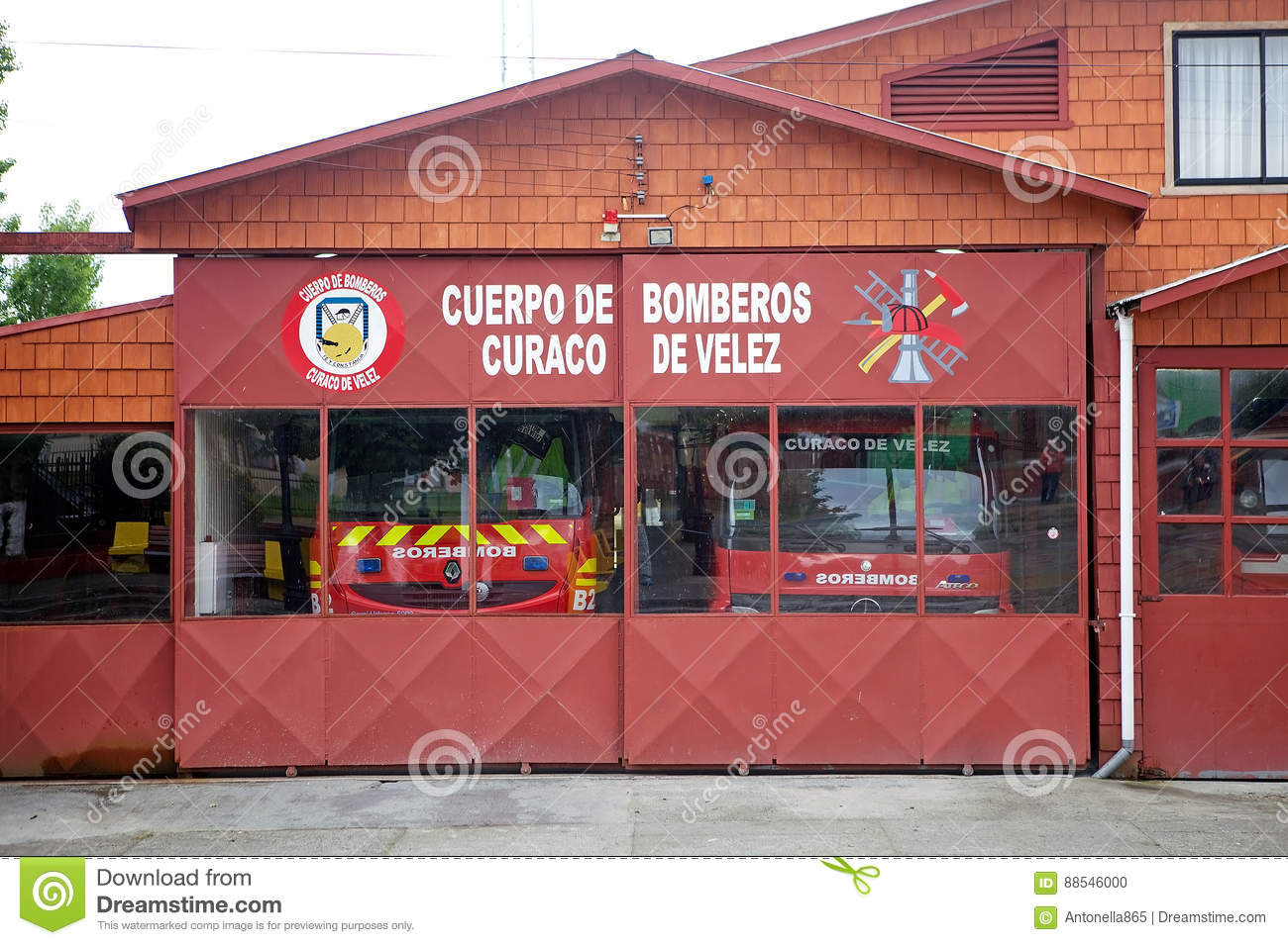 Fire Department`s station at Curaco de Velez, Quinchao Island, Chile