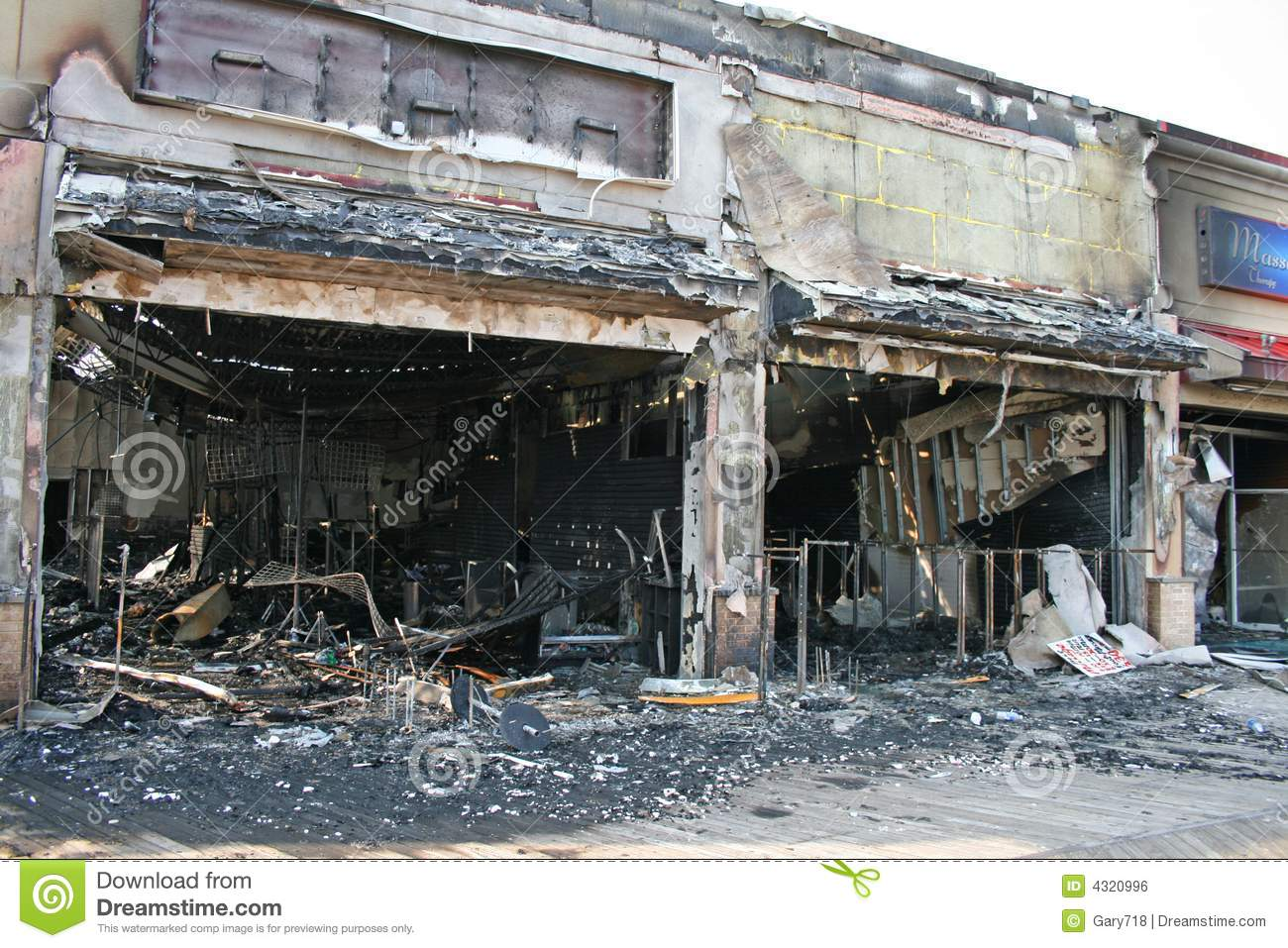 A Fire Destroyed Five Stores Stock Photo - Image of jersey, store