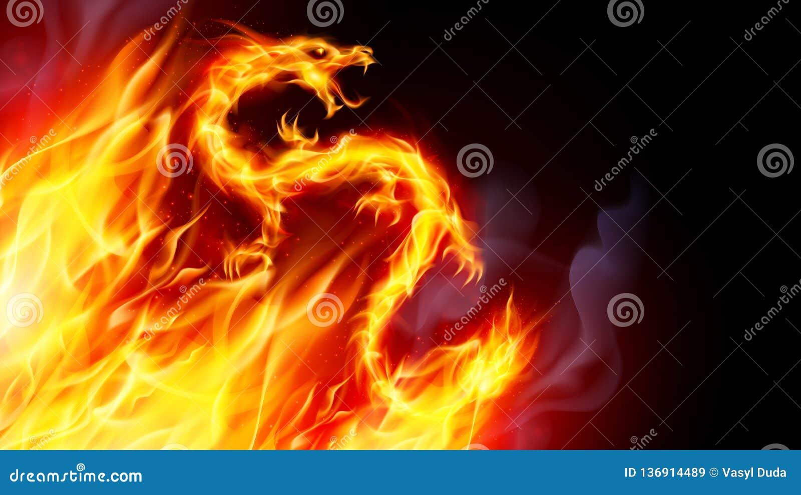 Fire Dragon stock illustration. Illustration of background ...Fire Flames Dragon