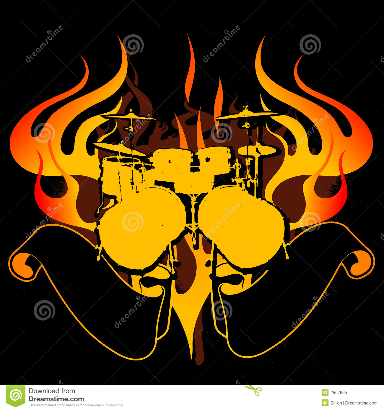 Fire Drums Graffiti Banner Royalty Free Stock Photo - Image: 2507965
