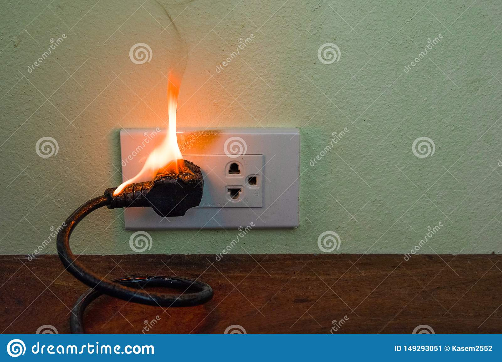 On fire electric wire plug Receptacle wall partition