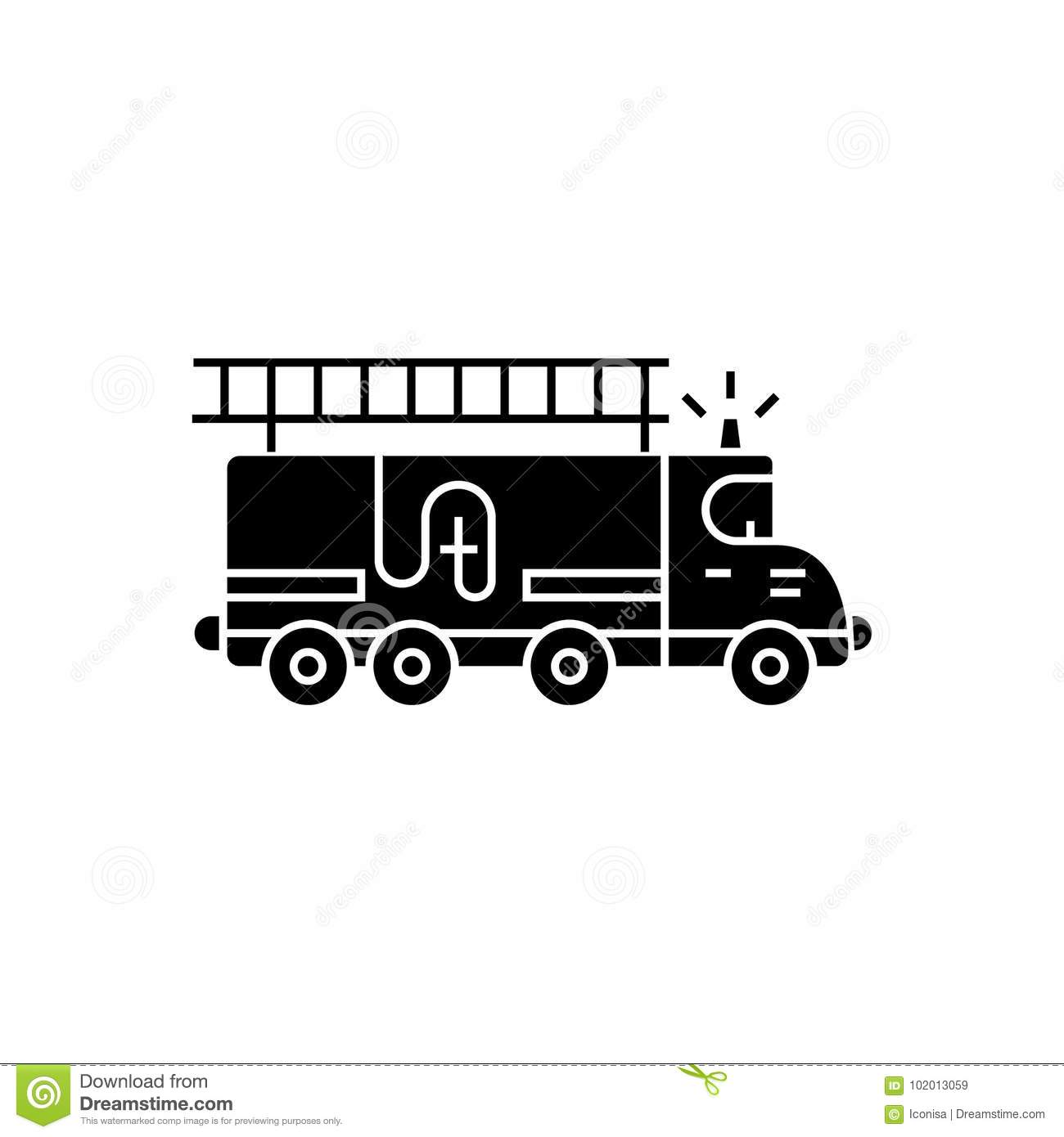 Fire engine - car icon, vector illustration, black sign on isolated background