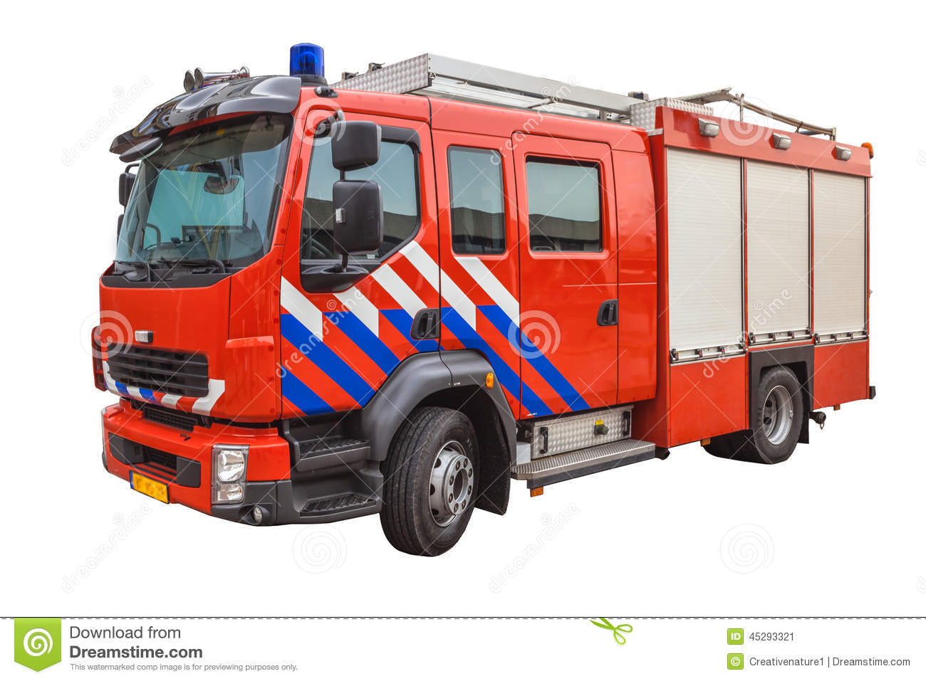 Download Fire Engine Isolated On White Background Stock Image - Image of modern, fighters: 45293321