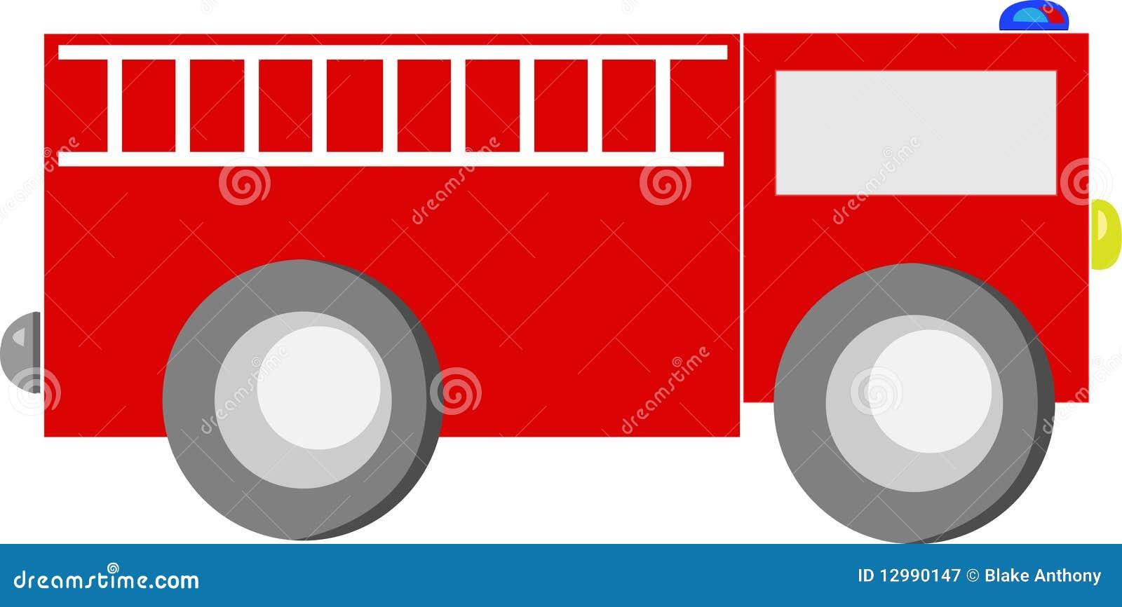 Fire Engine Red Cartoon Truck