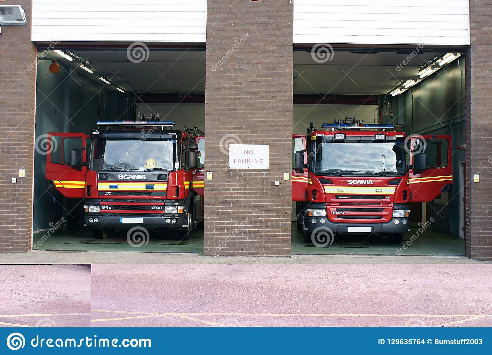 Fire engine in fire station