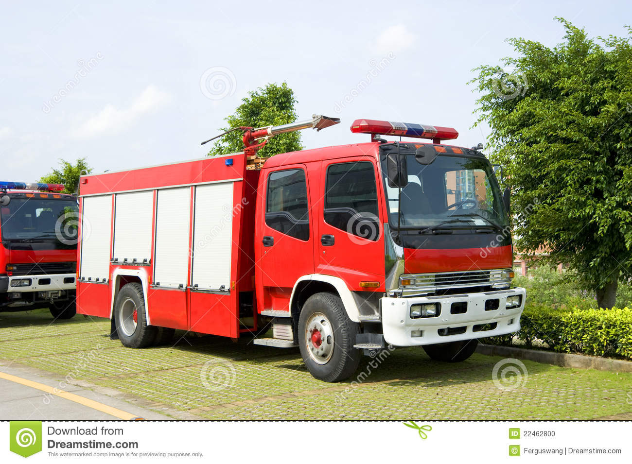 Fire engines in park