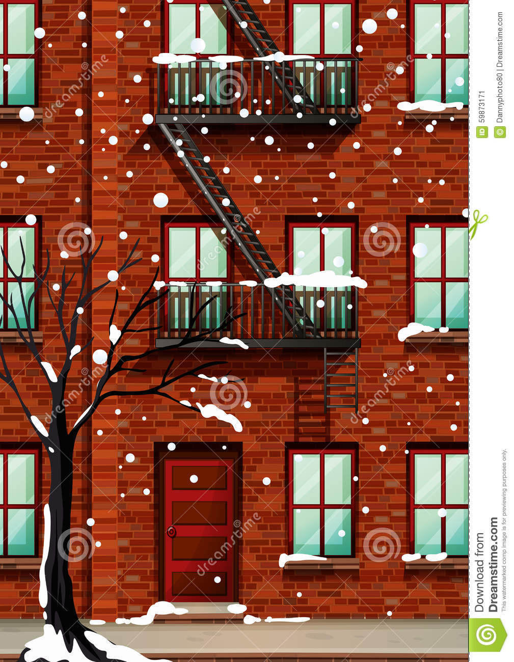 Fire Escape On The Apartment Building Stock Vector Image 59873171