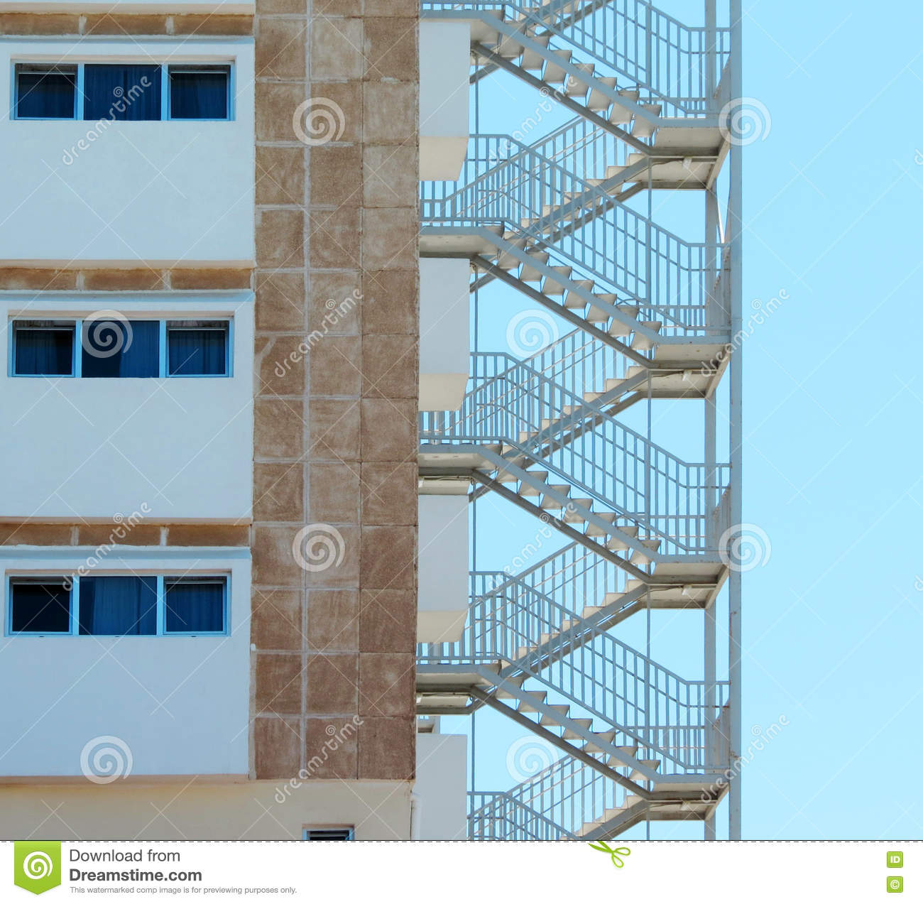 Download Fire Escape Stairs At A Hotel Stock Image   Image Of Stairs,  Modern: