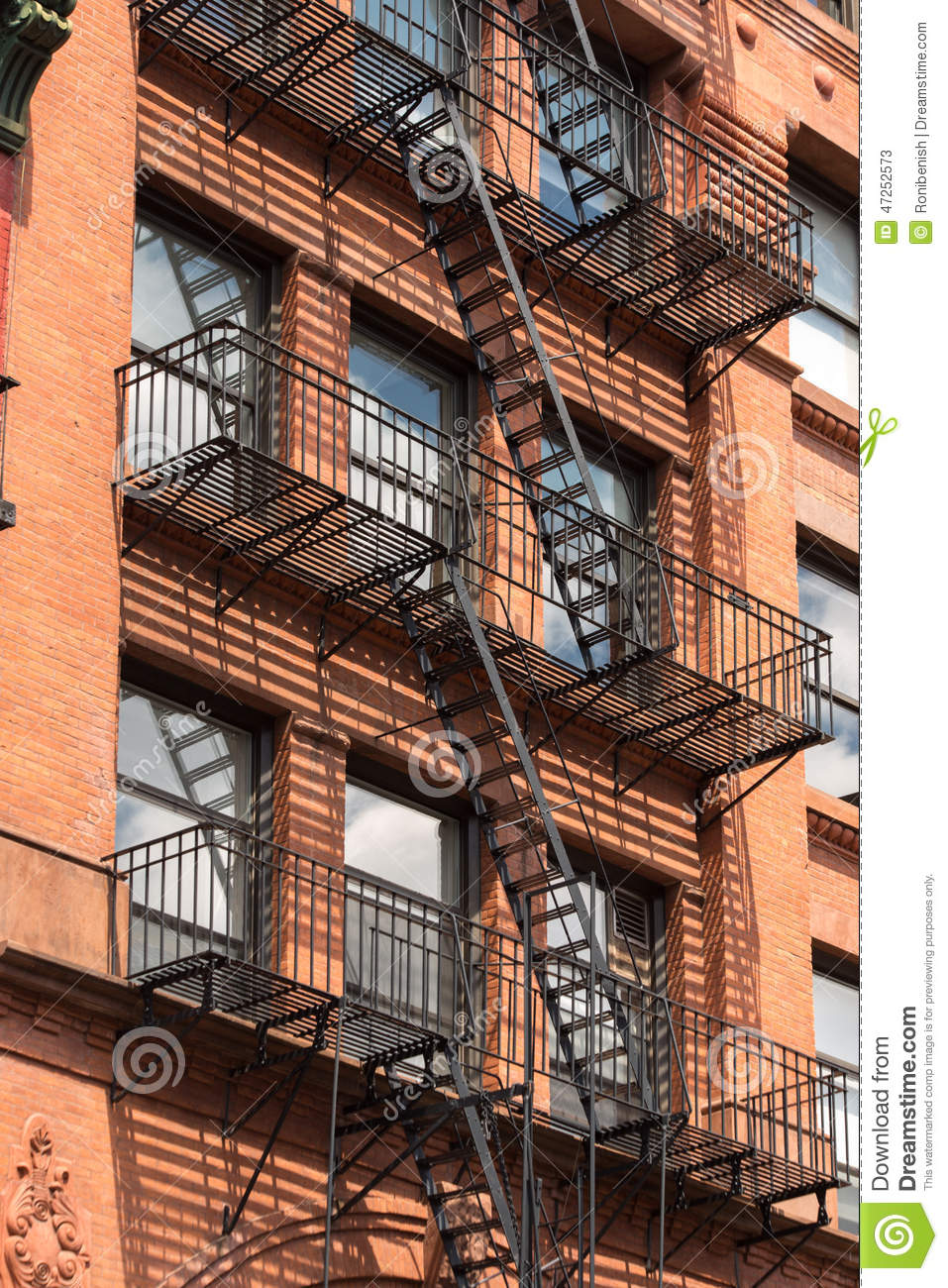 Fire Escape Stairs In Manhattan New York City, USA Stock Image   Image Of  Tourism, Fire: 47252573