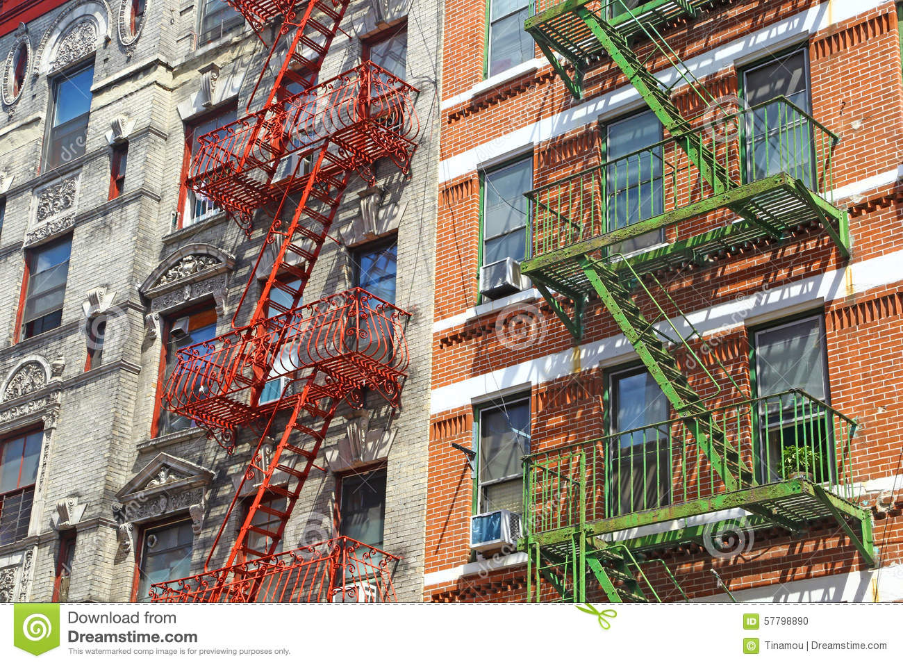 Fire Escapes In Little Italy New York Stock Photo Image 57798890