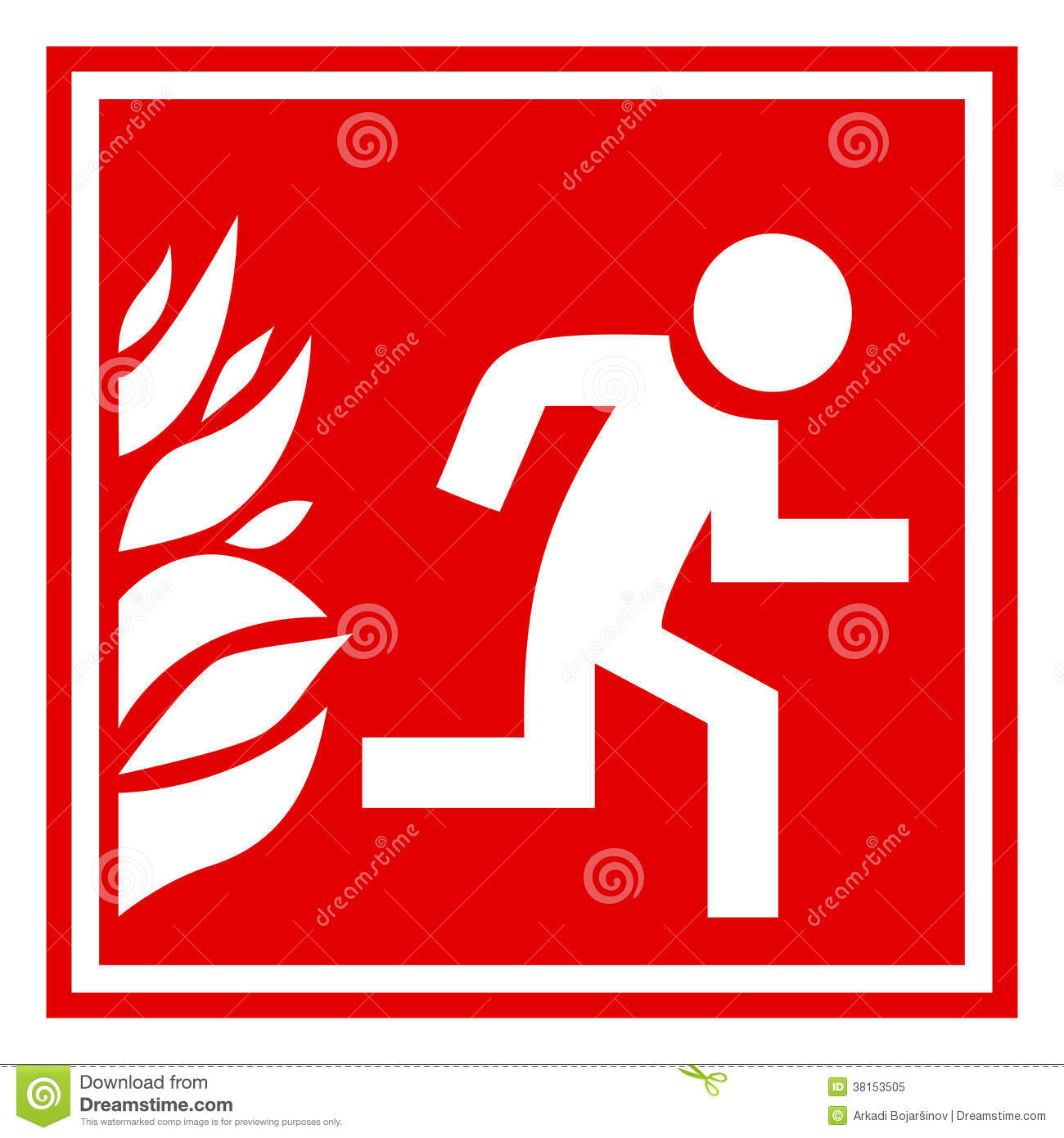 Fire Evacuation Sign Royalty Free Stock Photo - Image: 38153505