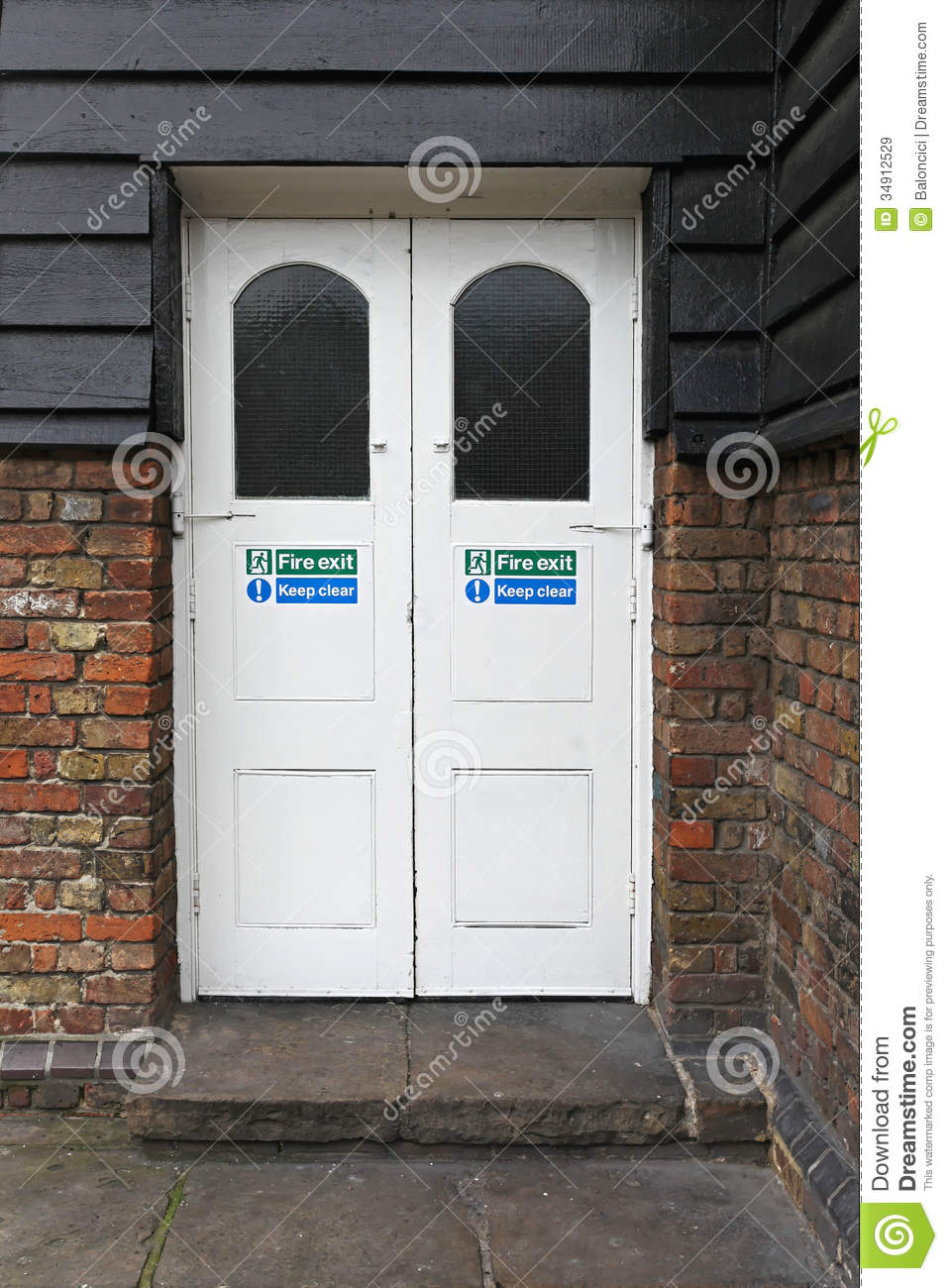 Fire Exit Stock Image Image Of Exit Double White Doors
