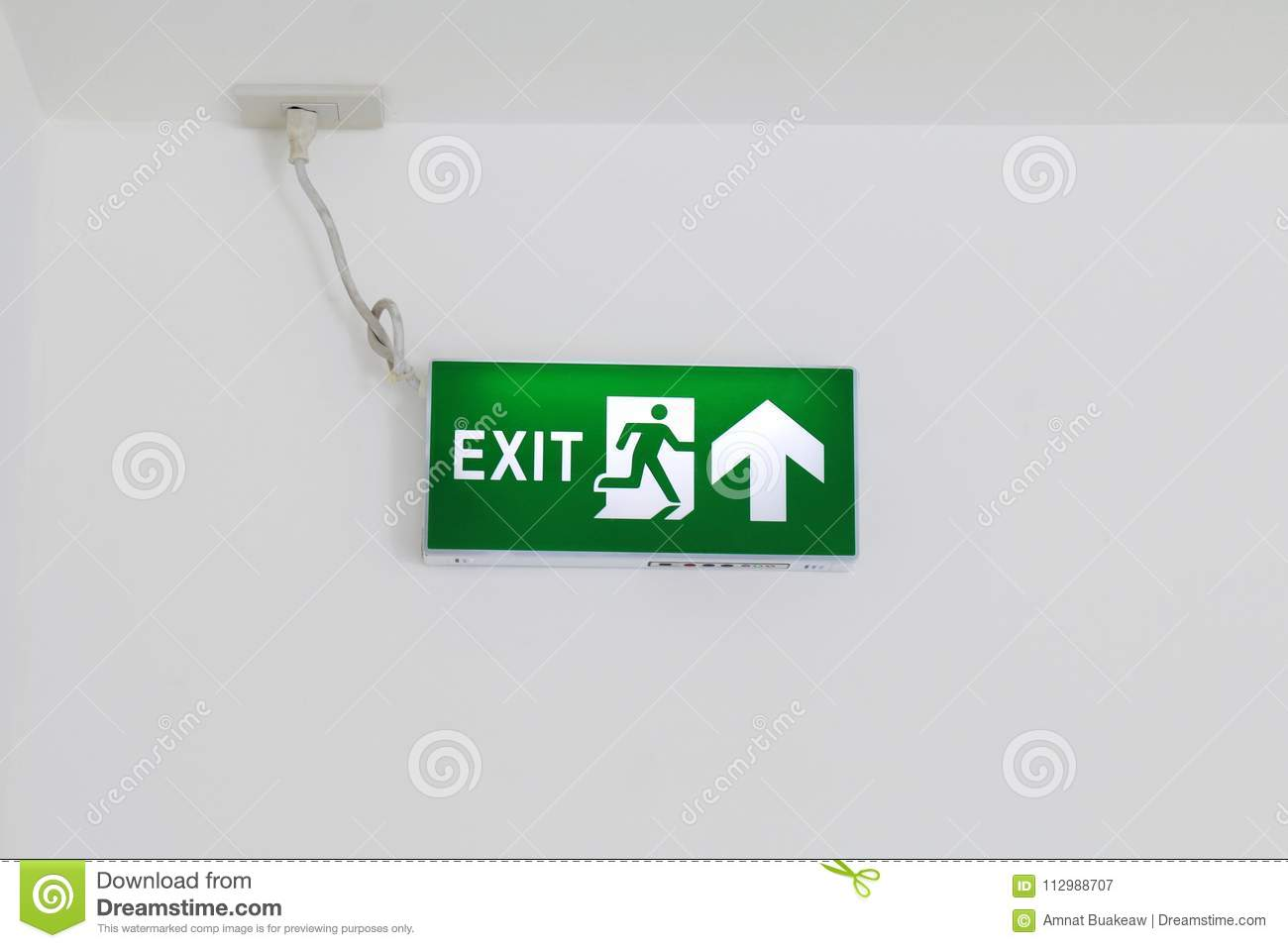Fire Exit Signs, Fire escape green, Arrow Signs on white wall, Signs Emergency, Light box signs green, Safety first signs