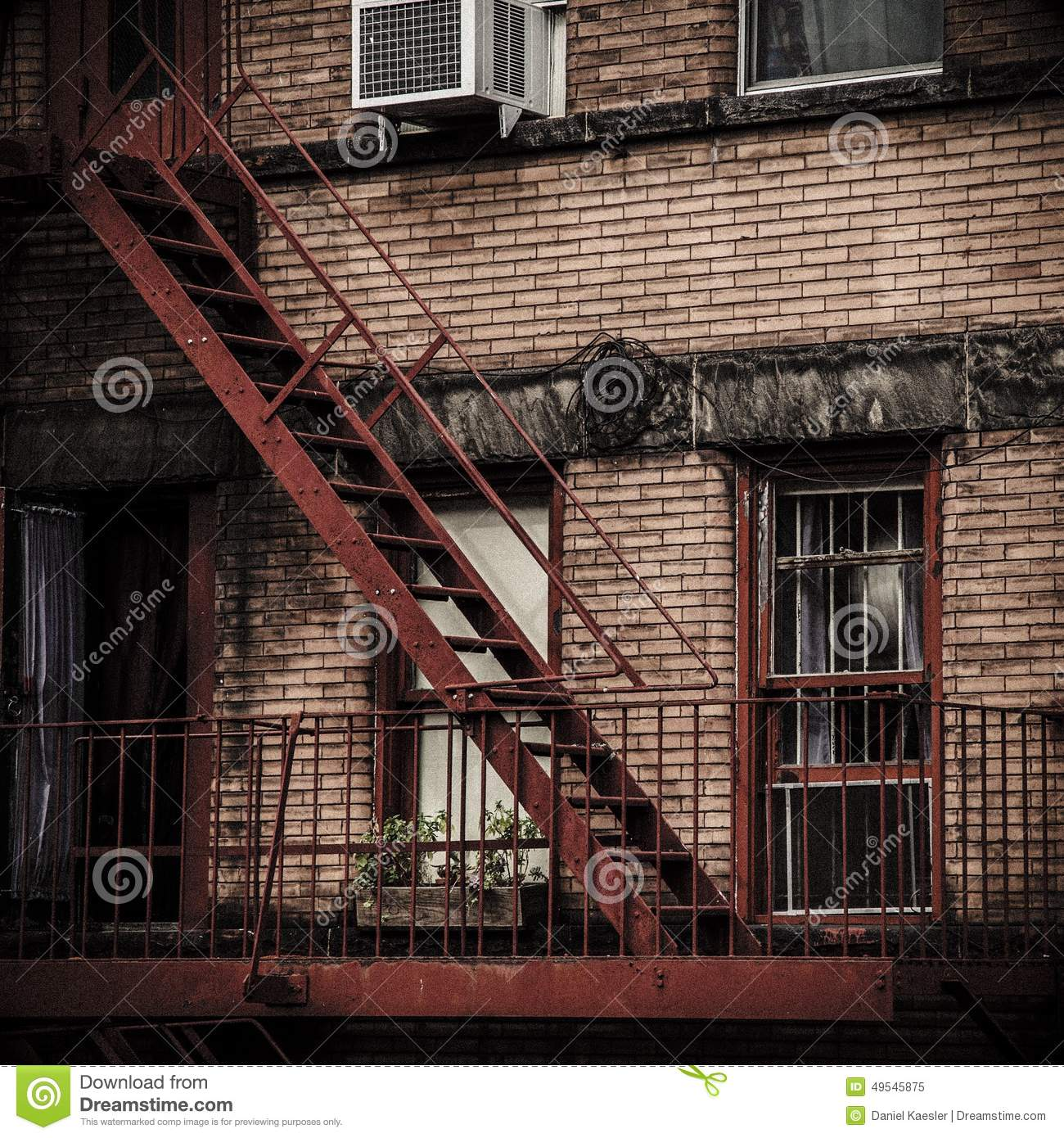Apartment Prices In New York City: Fire Exit Stairs Stock Photo