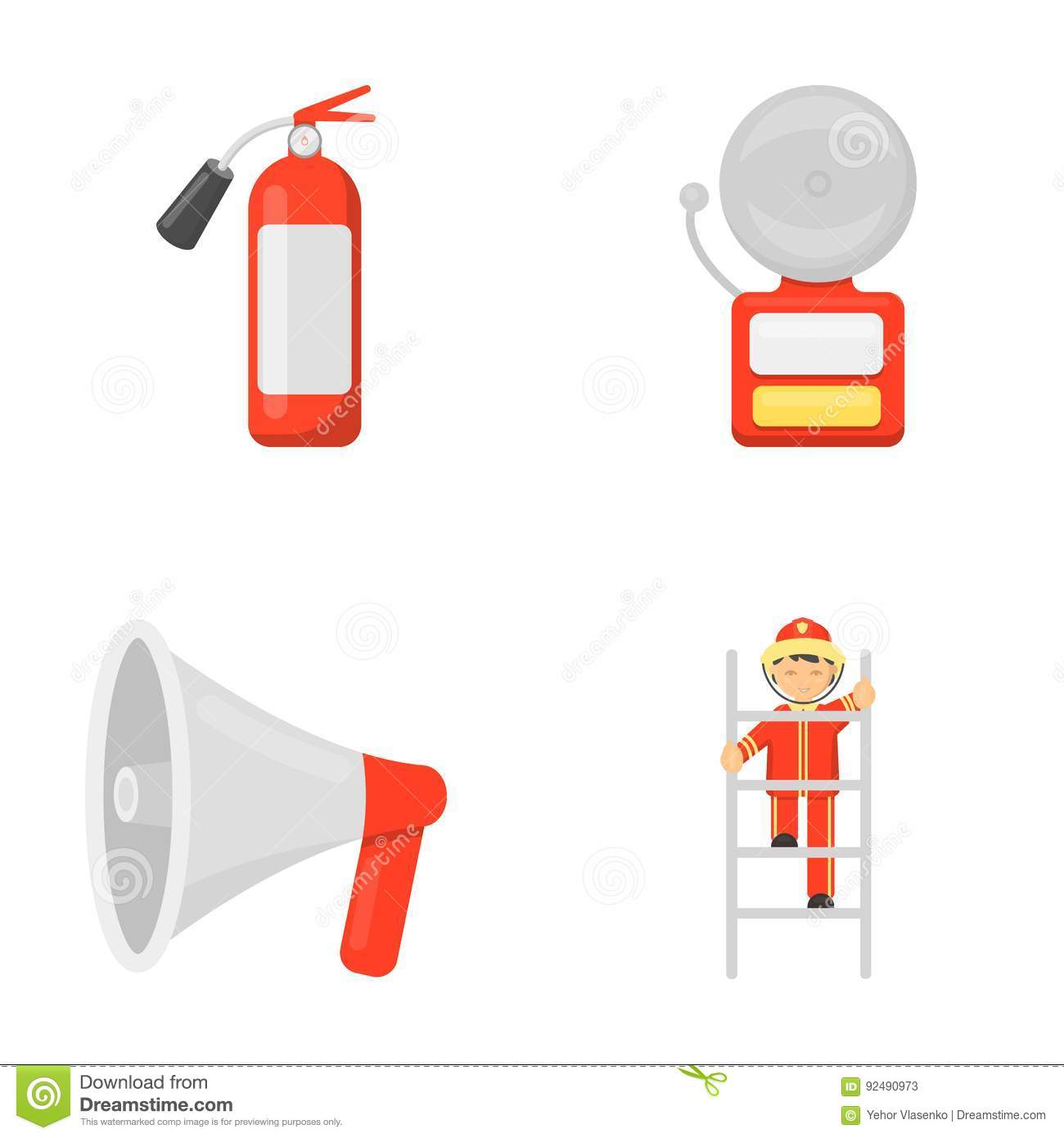Cartoon fire extinguisher stock illustrations 866 cartoon fire fire extinguisher alarm megaphone fireman on the stairs fire departmentset set collection buycottarizona
