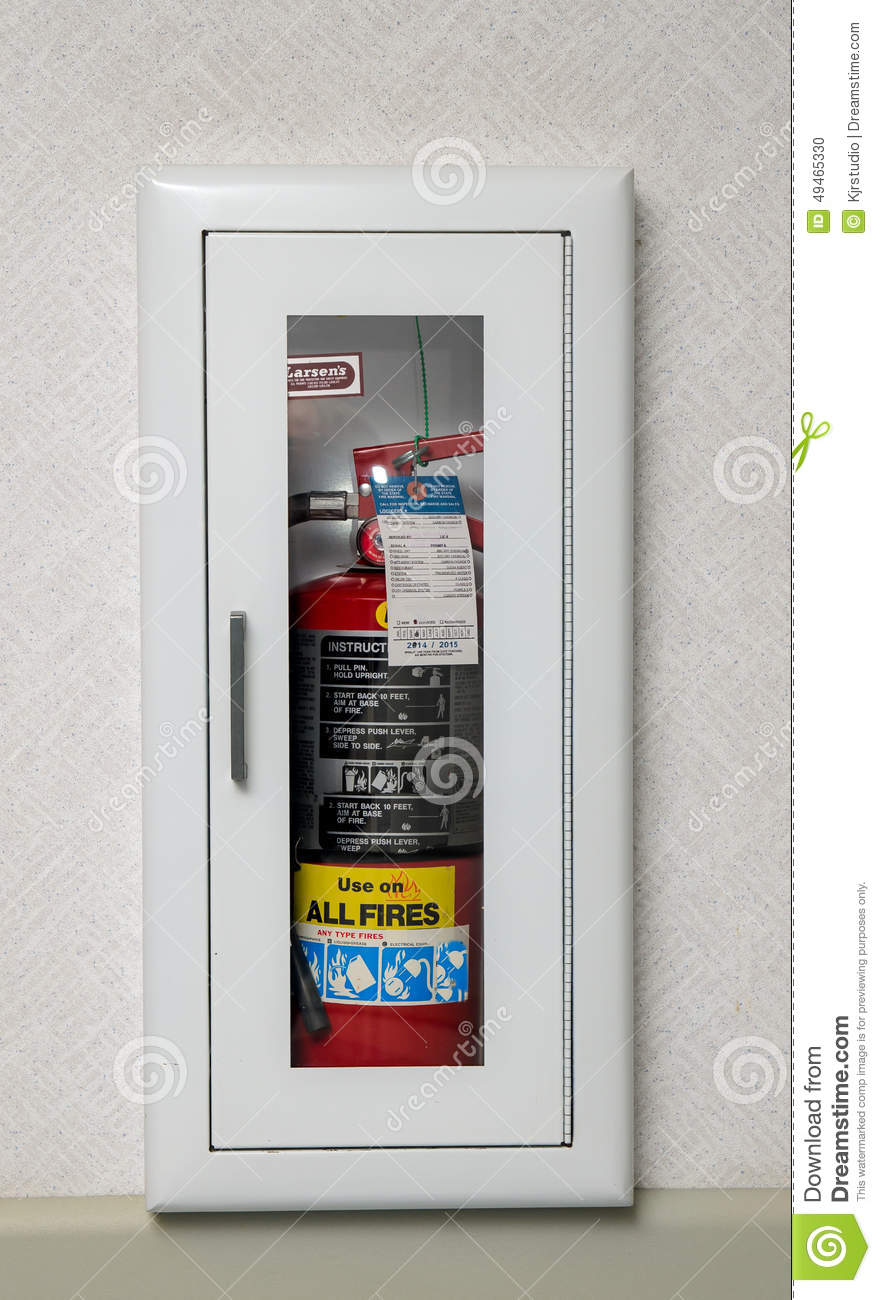 Fire Extinguisher Case In A Wall Stock Photo Image Of