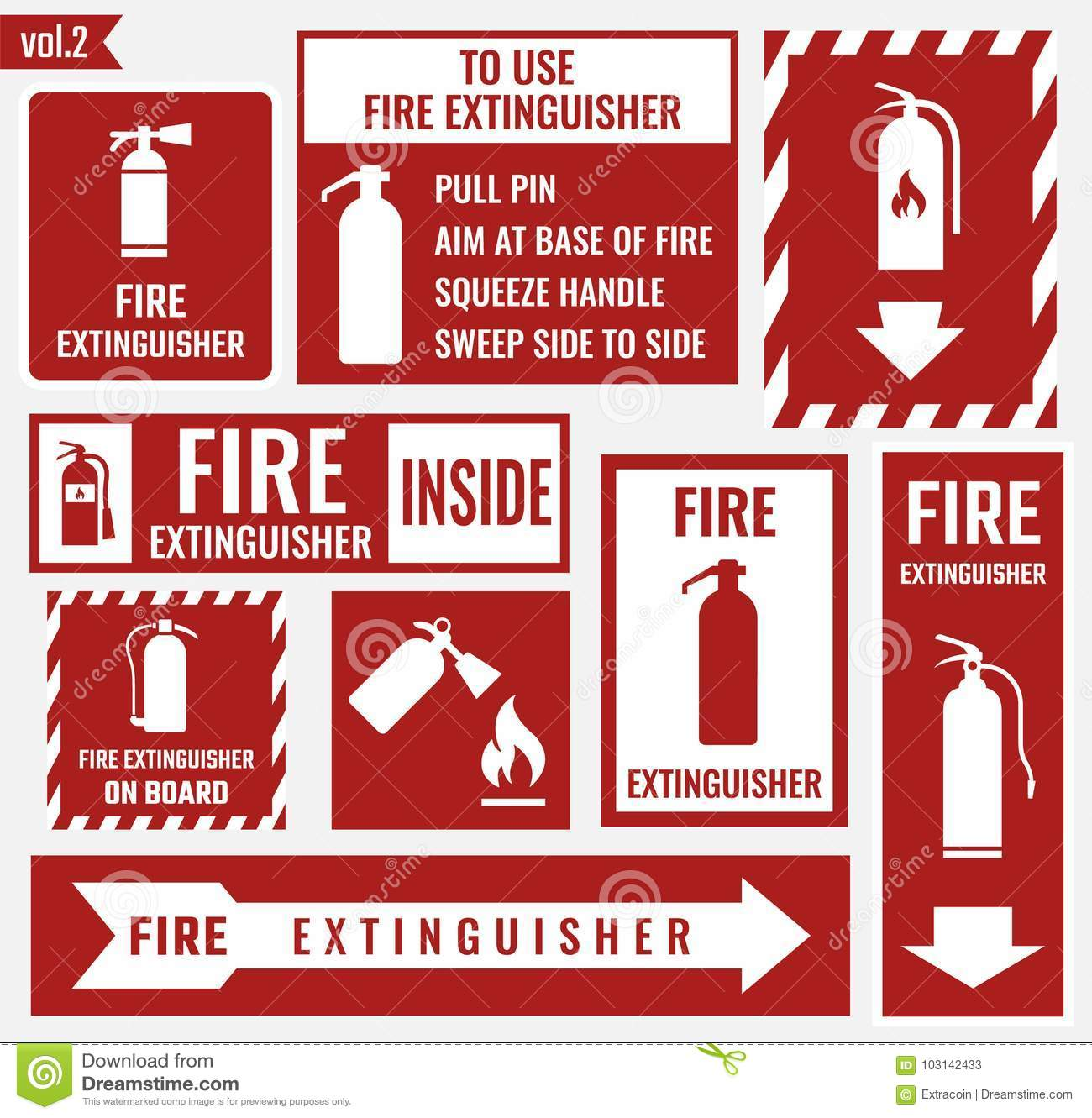 fire extinguisher labels and signs stock vector